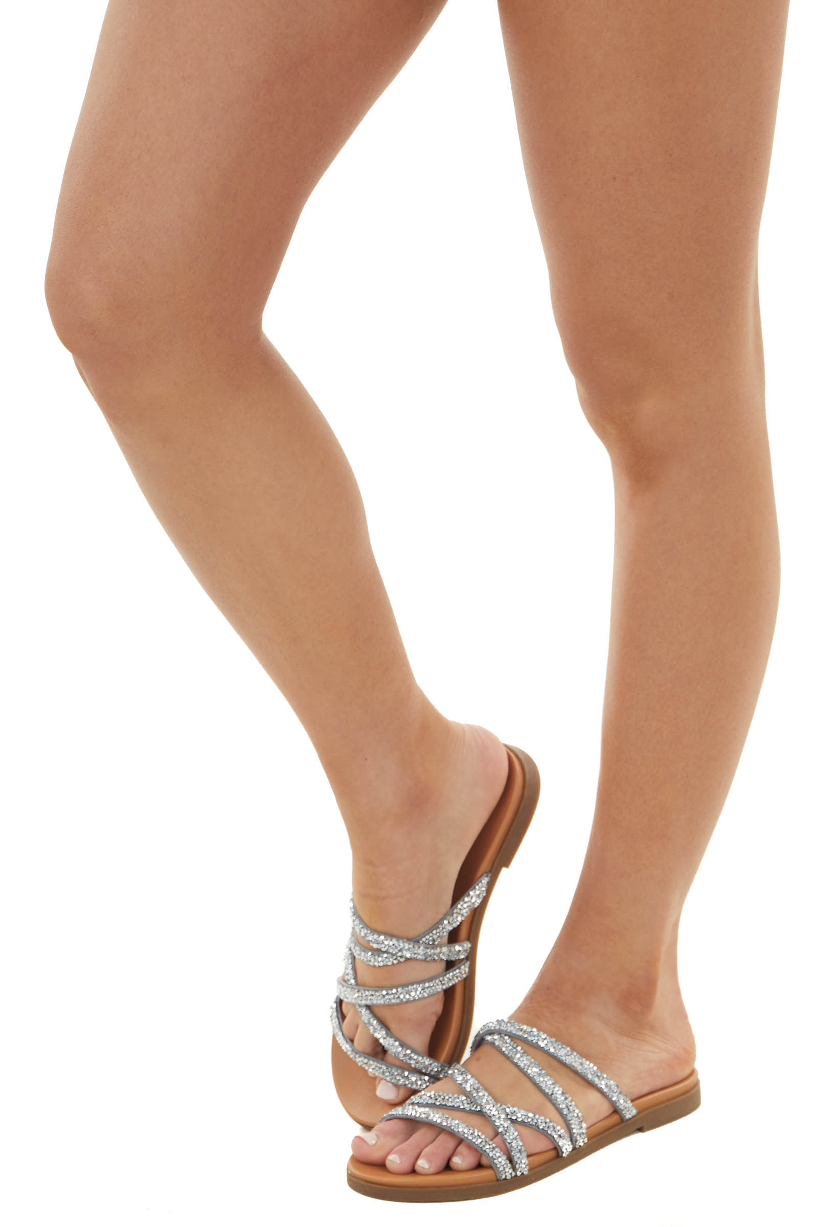 Silver Strappy Slip On Flat Sandal with Rhinestone Details