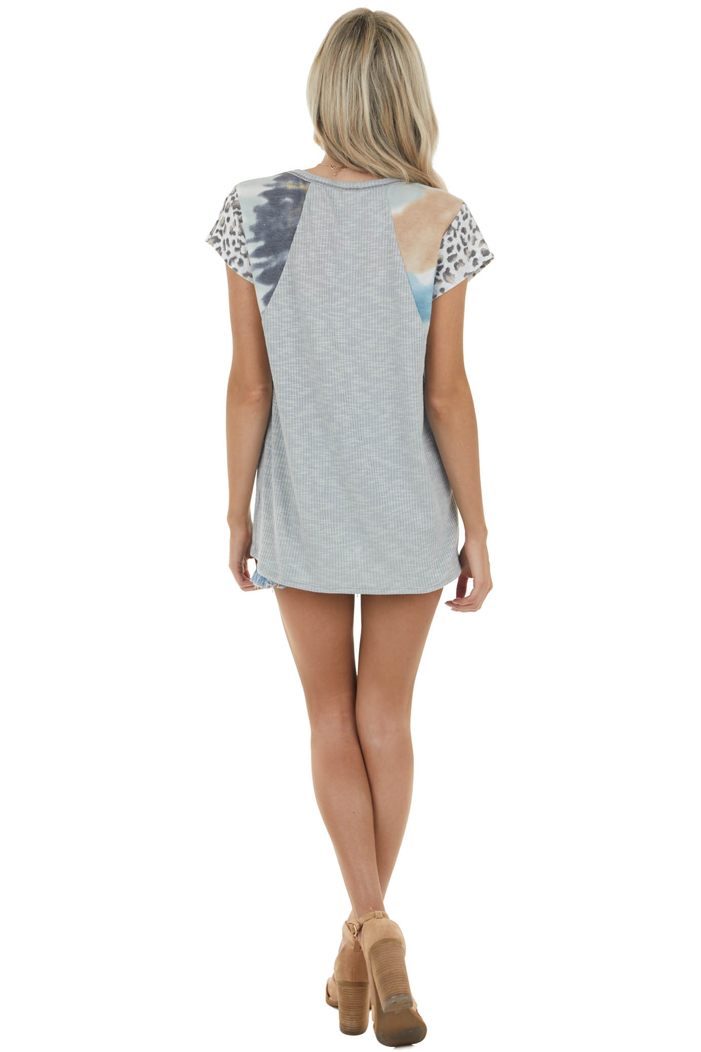 Slate Grey Ribbed Knit Top with Multiprint Short Sleeves