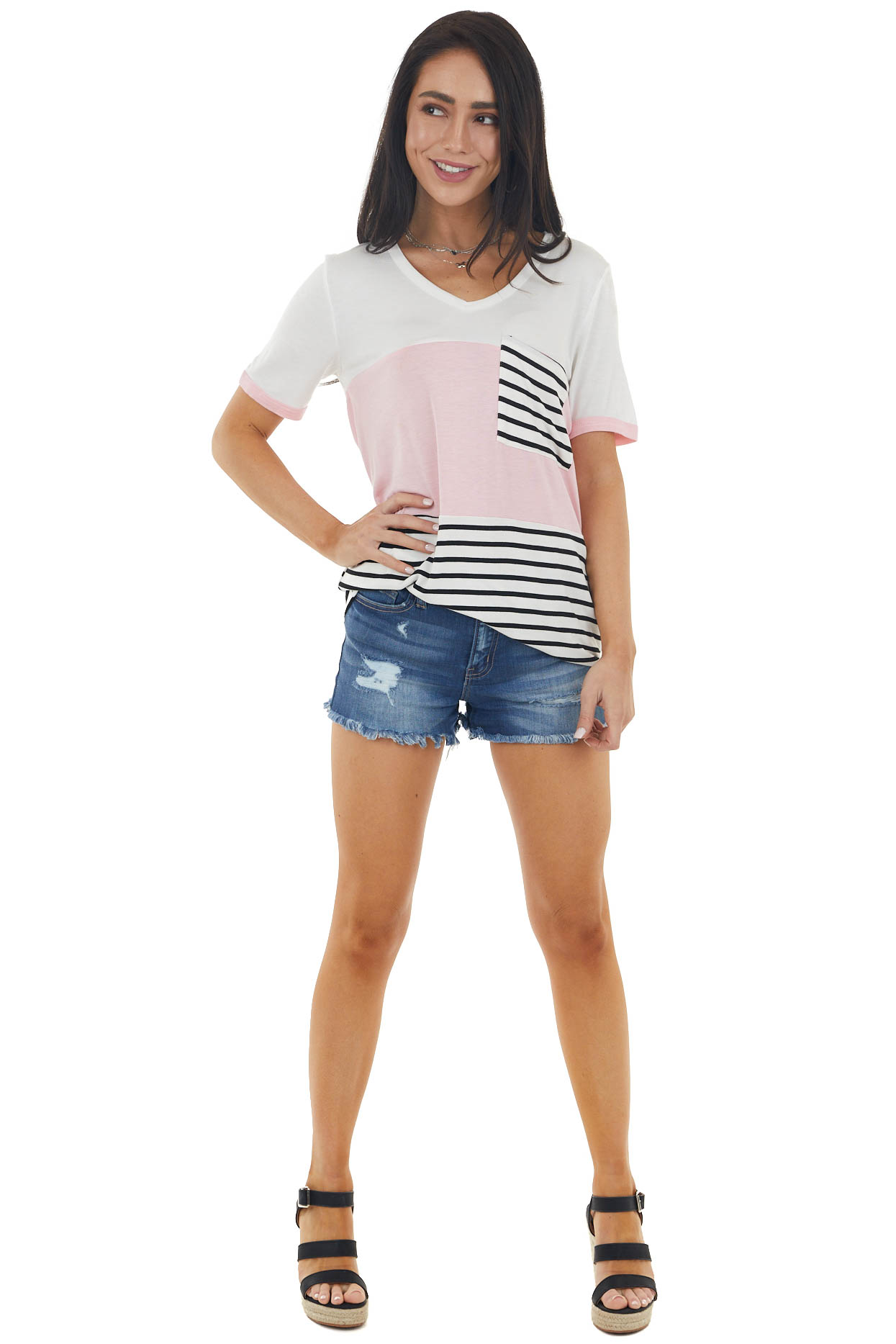 Ivory and Baby Pink Colorblock Knit Top with Striped Pocket