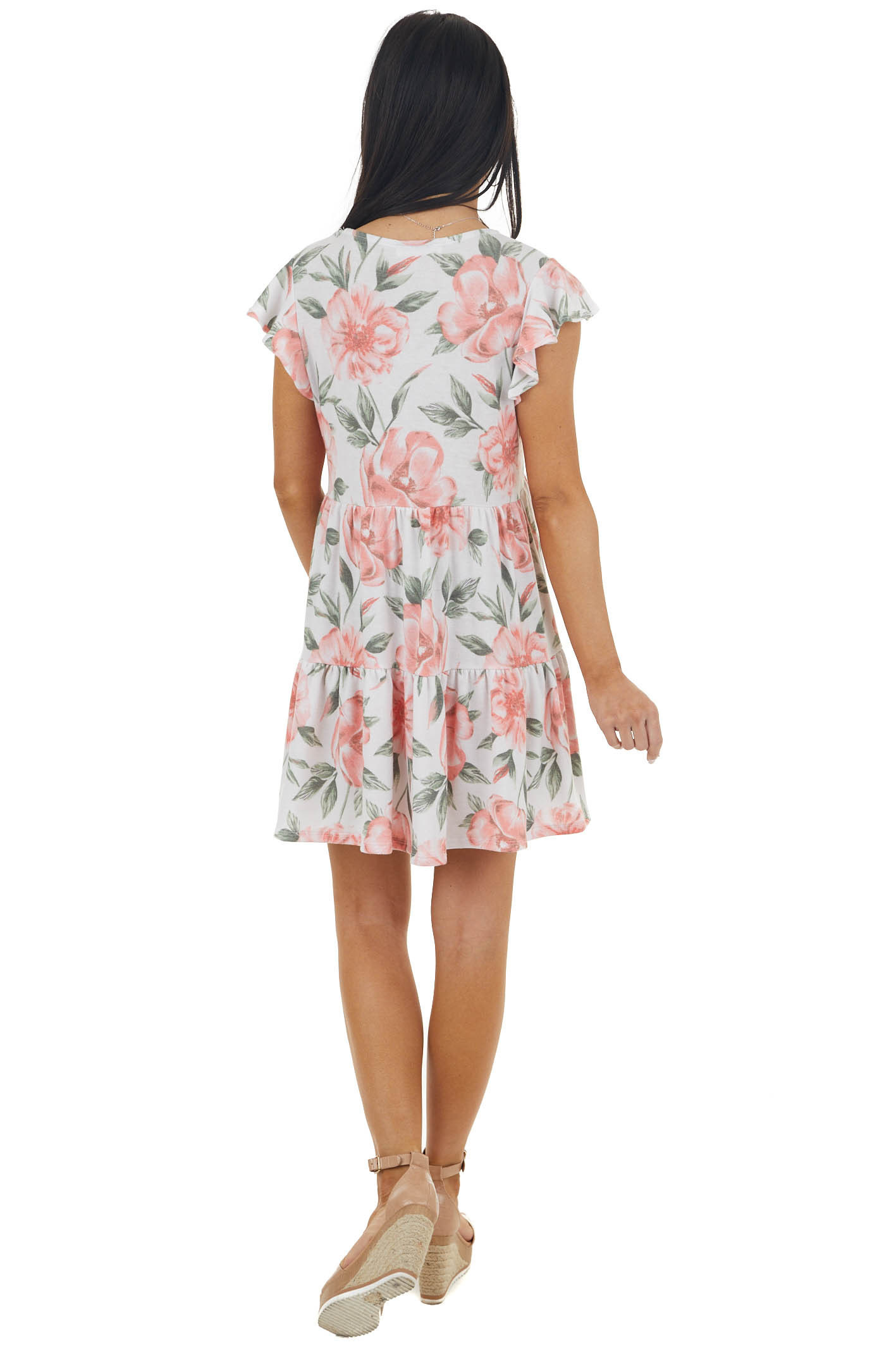 Off White and Punch Floral Print Tiered Ruffle Sleeve Dress