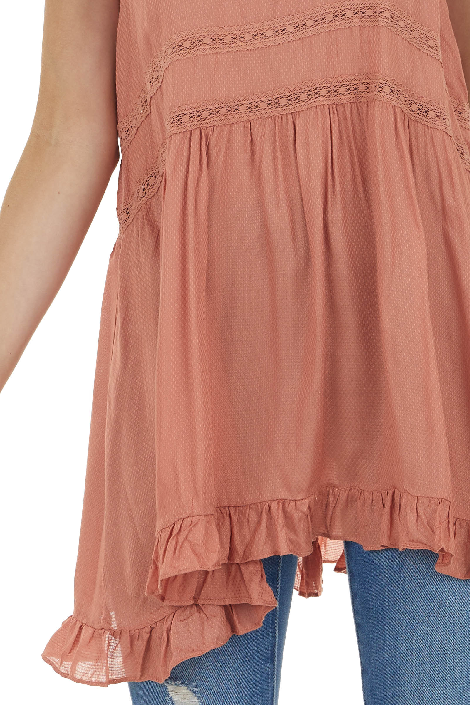 Terracotta Textured Sleeveless Tunic Top with Lace Details