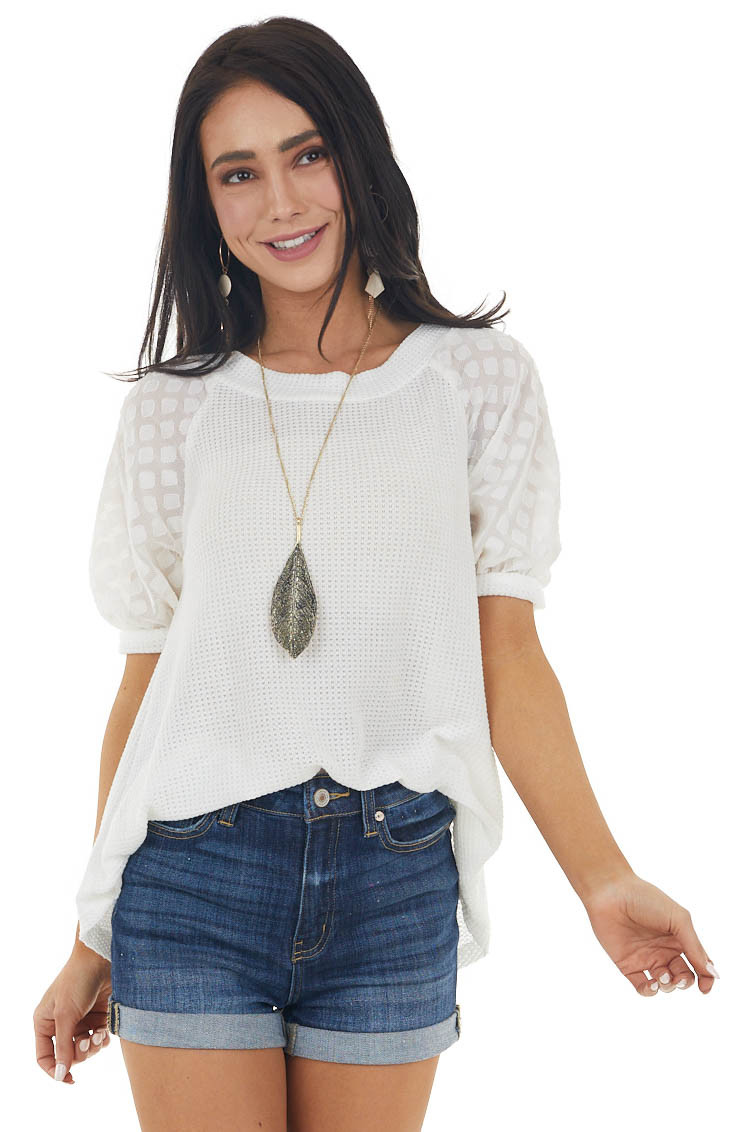 Ivory Waffle Knit Top with Chiffon Textured Half Sleeves