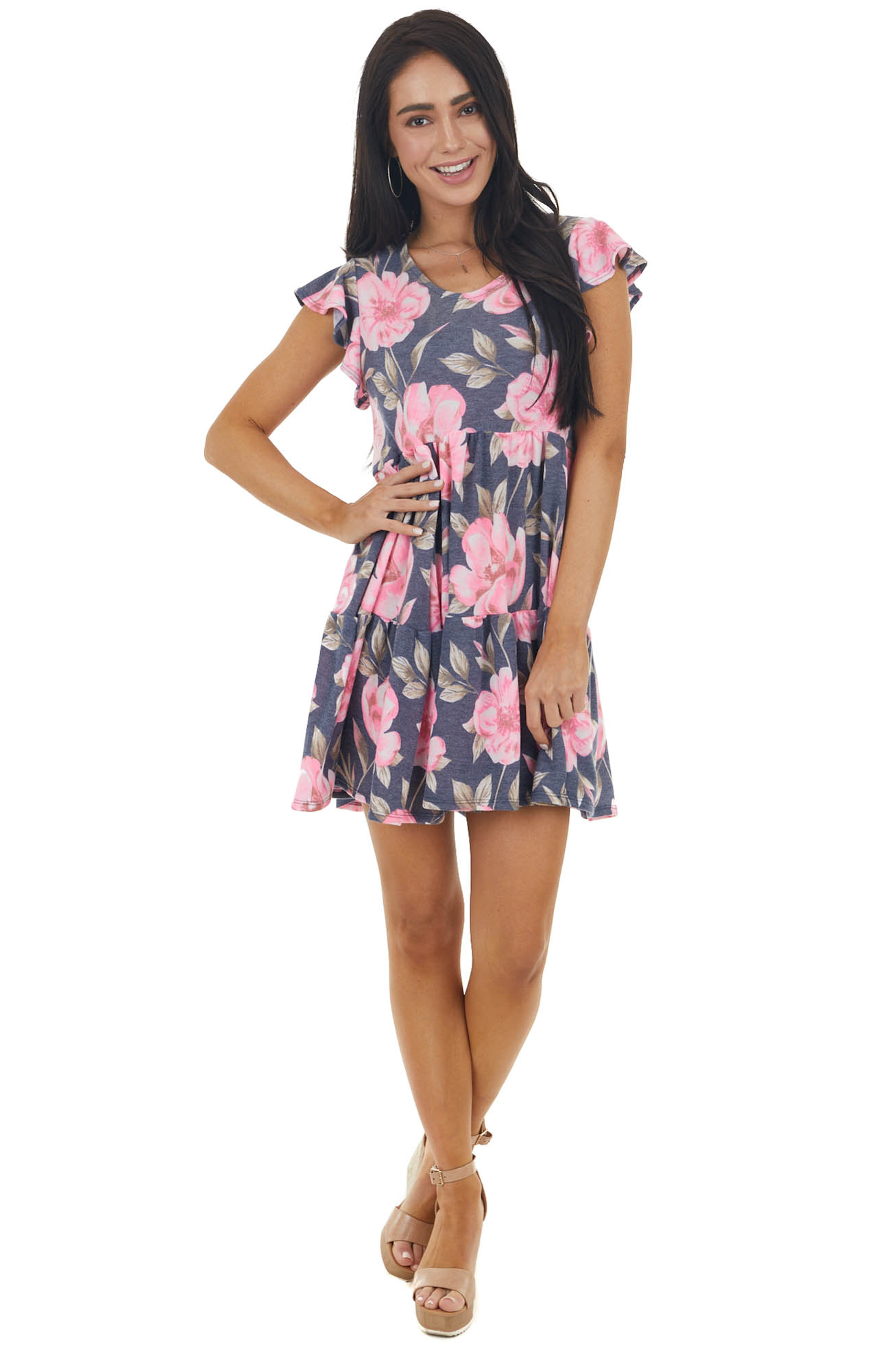 Navy and Neon Pink Floral Print Tiered Ruffle Sleeve Dress