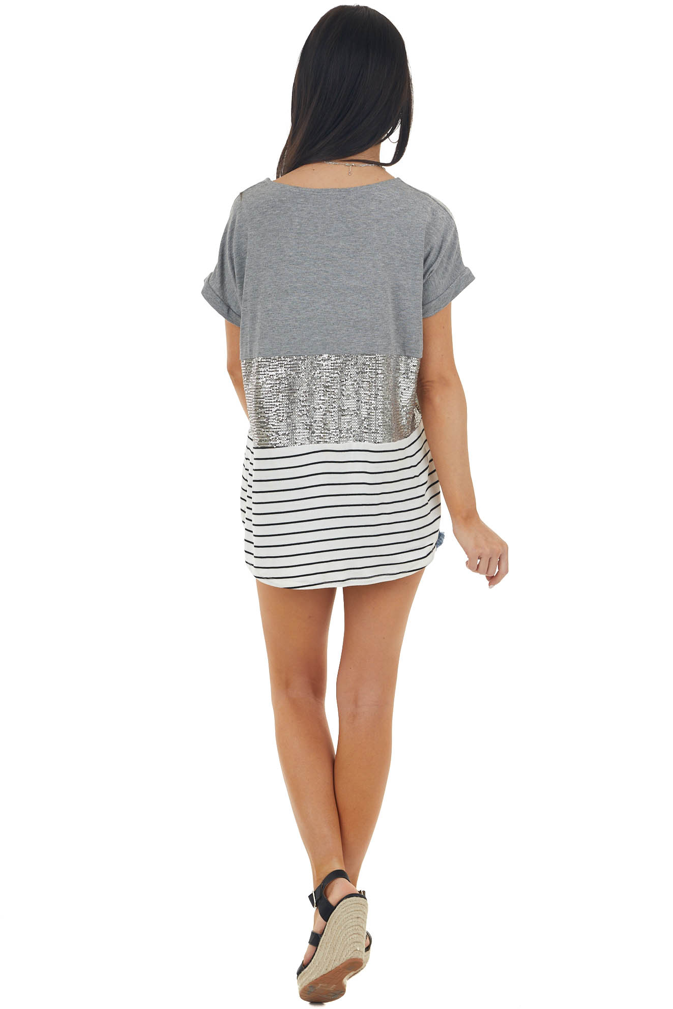 Stone Colorblock Short Sleeve Knit Top with Sequins