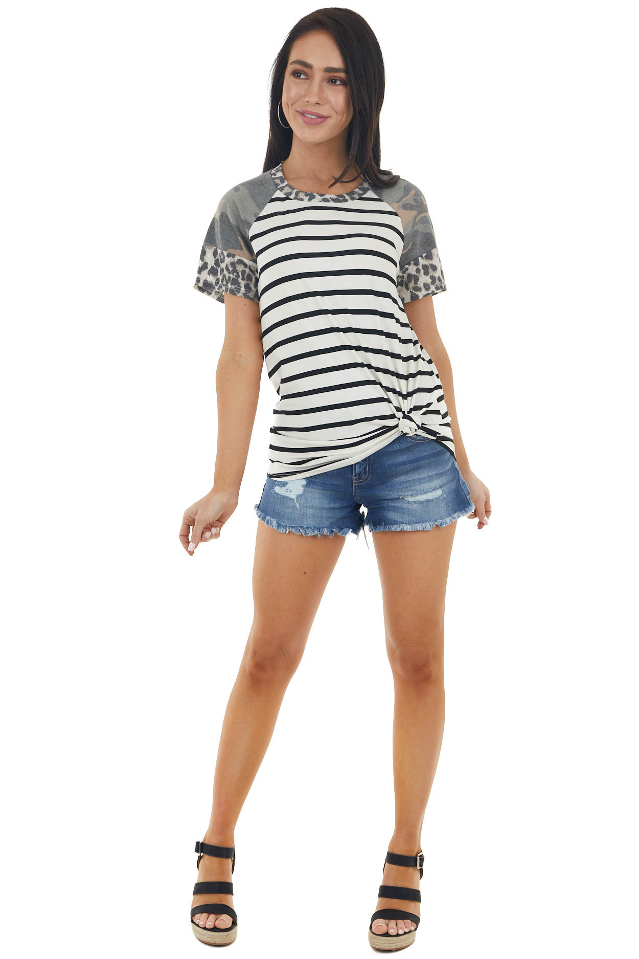 Vanilla and Black Striped Multiprint Short Sleeve Knit Top