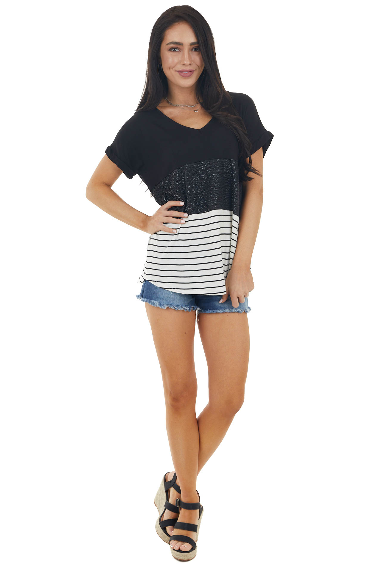 Black Colorblock Short Sleeve Knit Top with Sequins