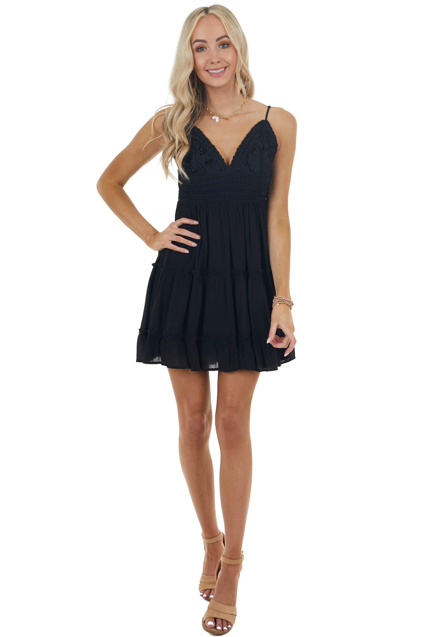 Black Open Back Dress with Crochet Lace Bust