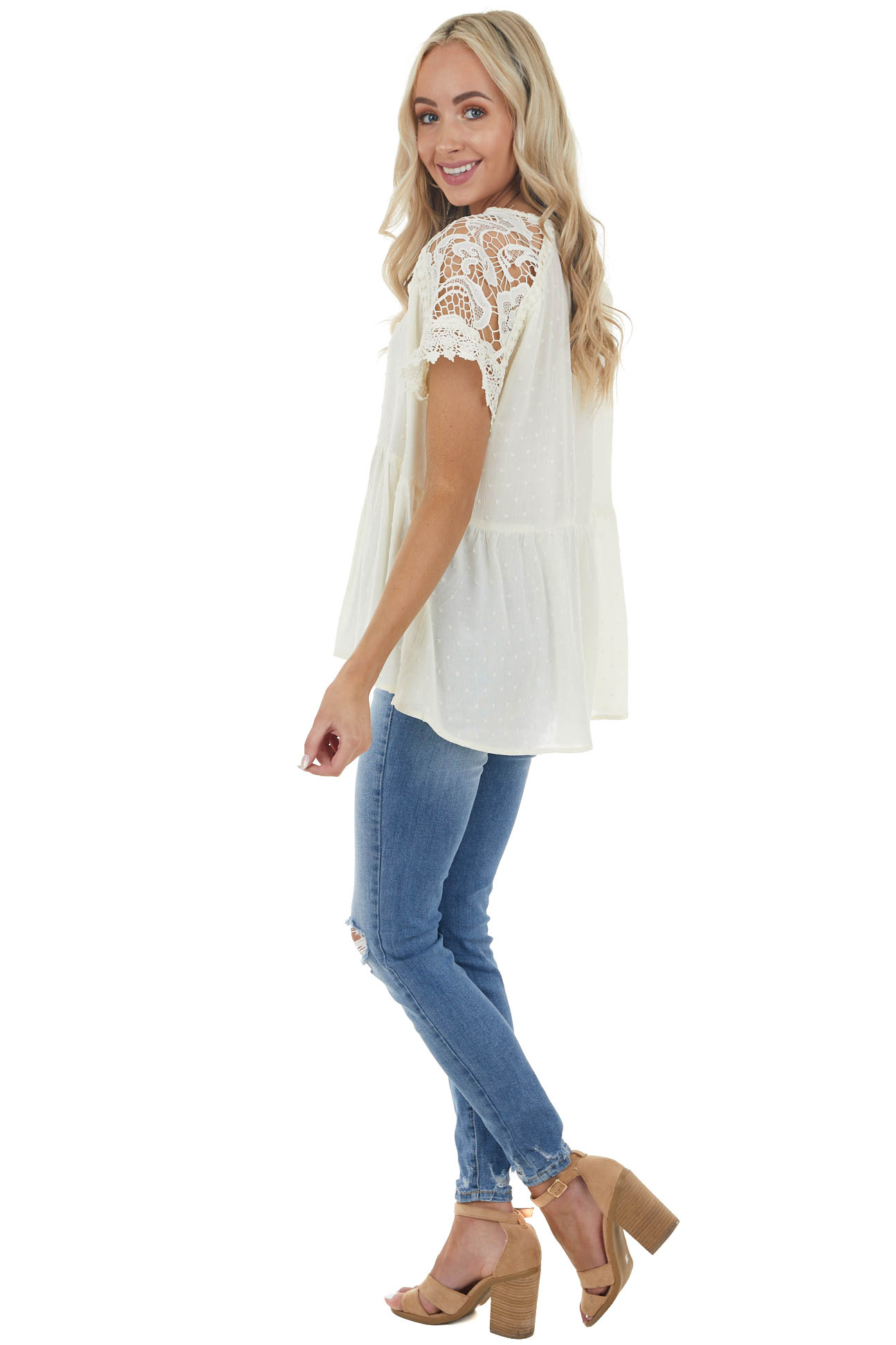 Cream Swiss Dot Woven Top with Lace Short Sleeves