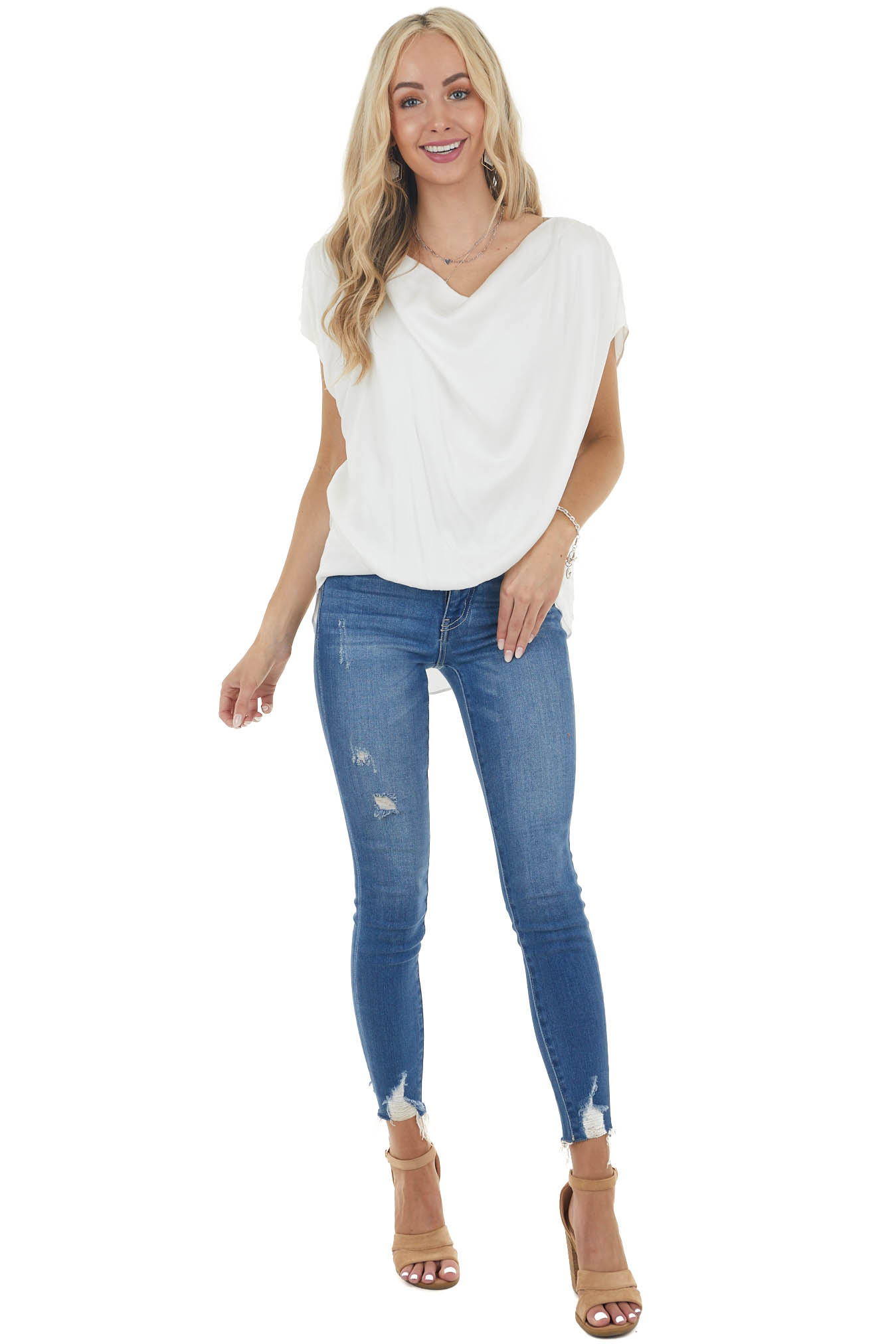 Ivory Short Sleeve High Low Top with Ruching Details