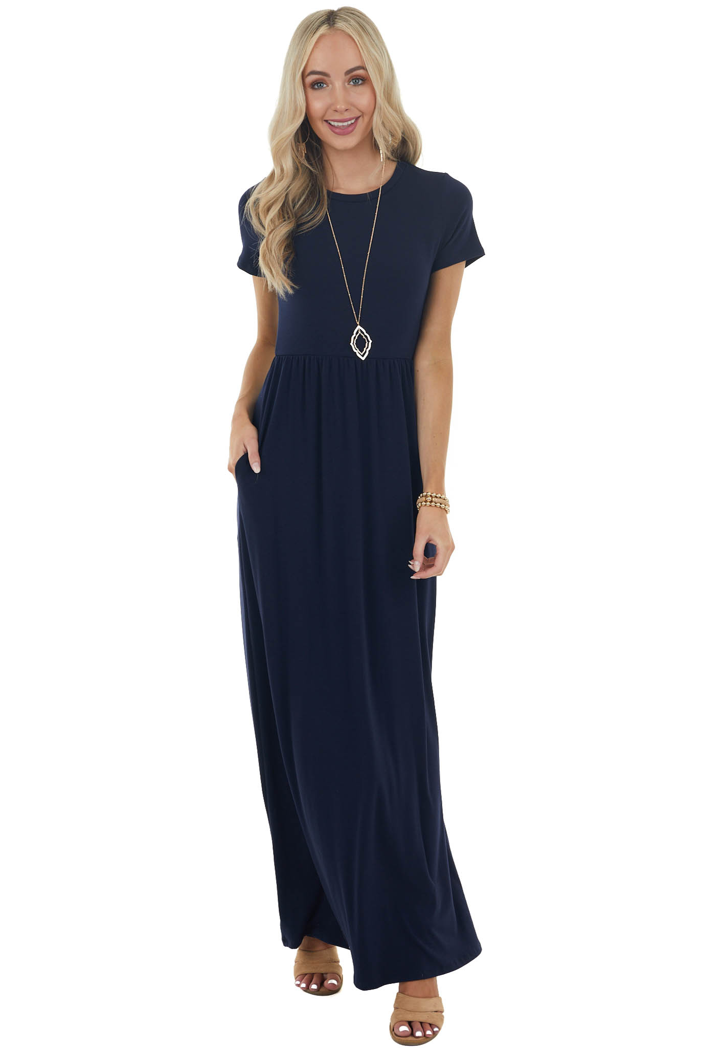 Navy Flowy Short Sleeve Knit Maxi Dress with Side Pockets