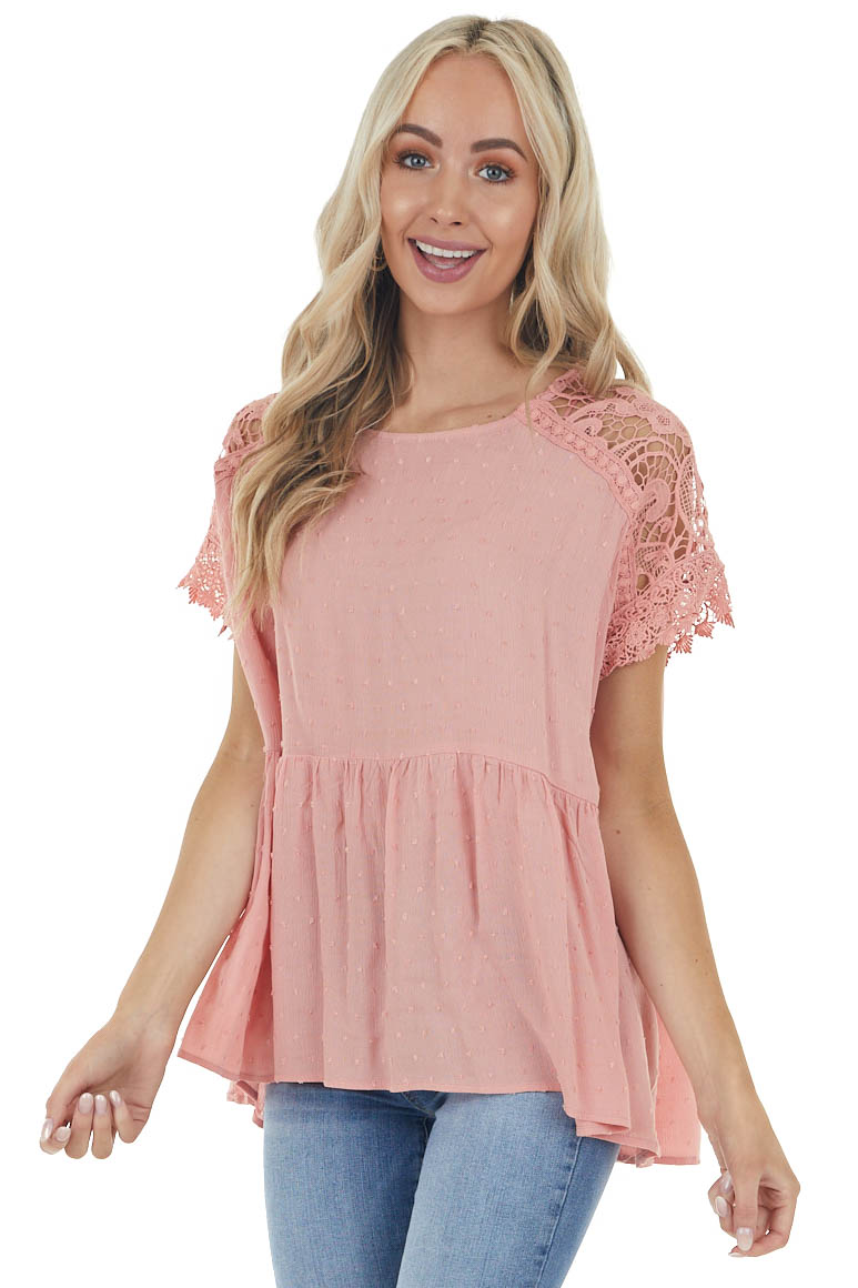 Dusty Rose Swiss Dot Woven Top with Lace Short Sleeves