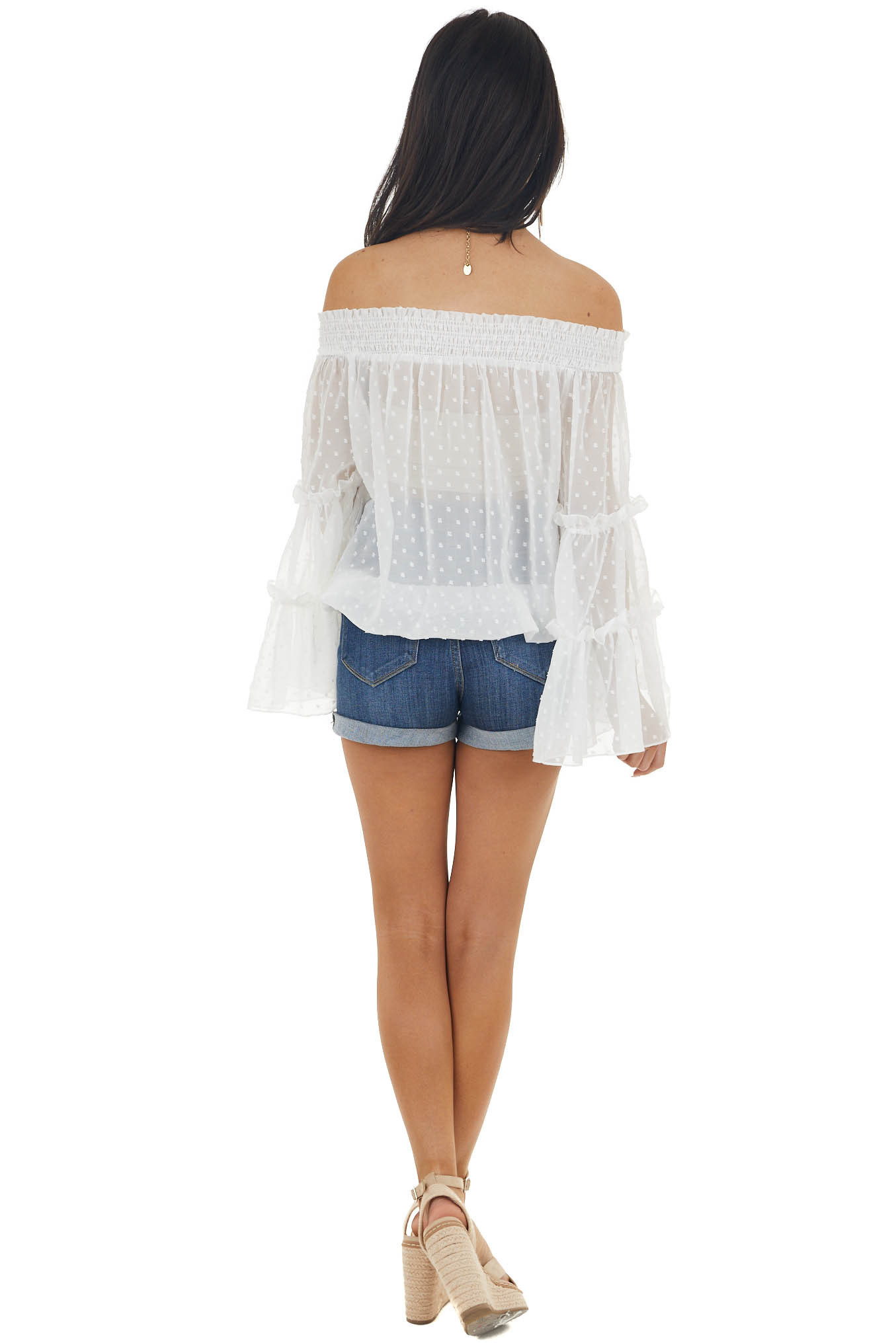 Ivory Off Shoulder Long Flare Sleeve Top with Swiss Dots