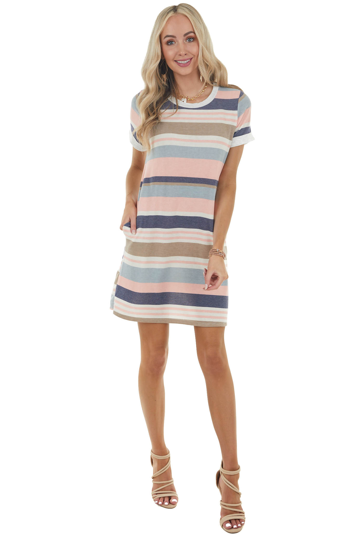 Cream Striped Short Knit Dress with Rolled Sleeves