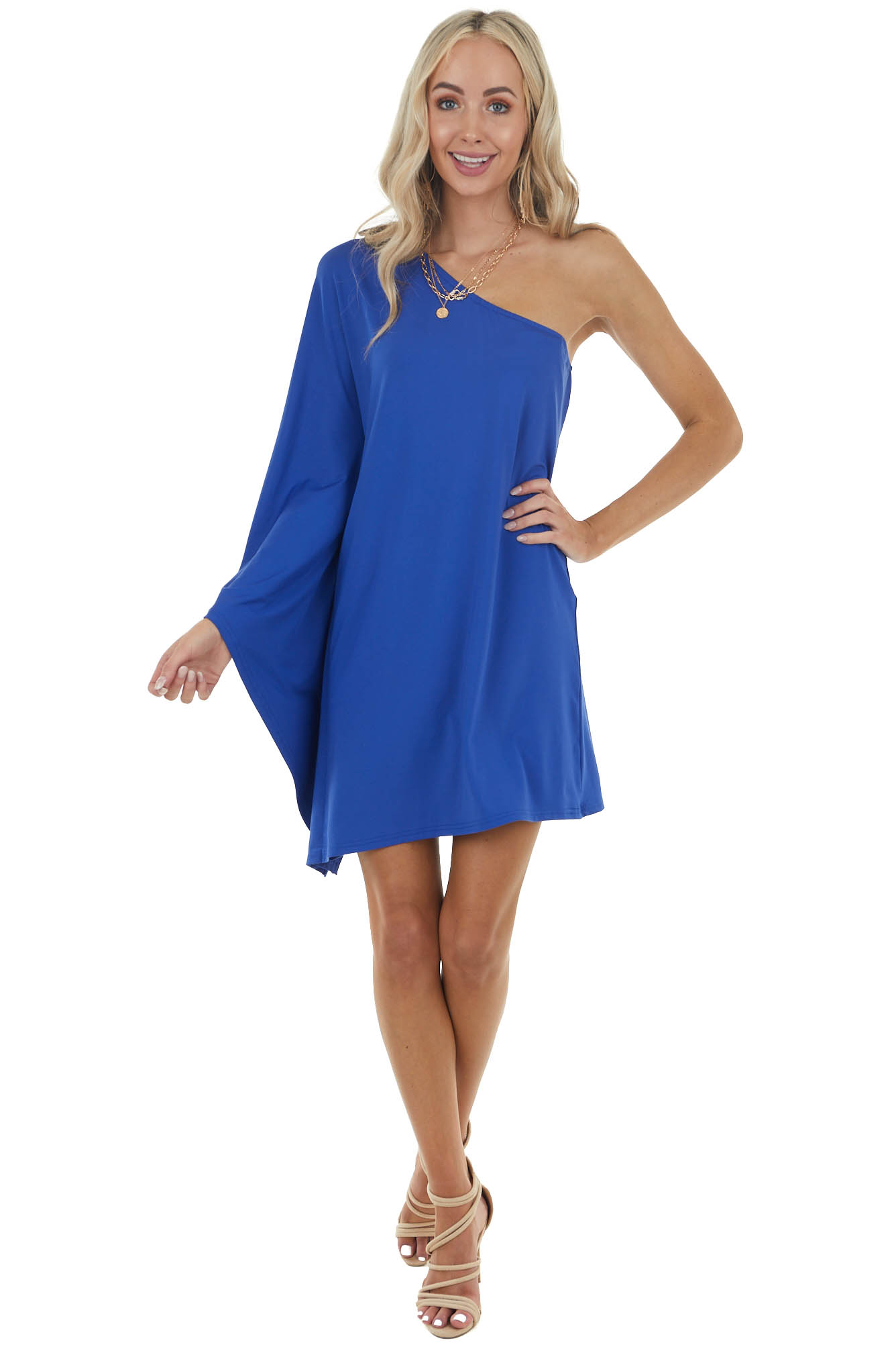 Royal Blue Long Sleeve Mini Dress with One Shoulder Detail