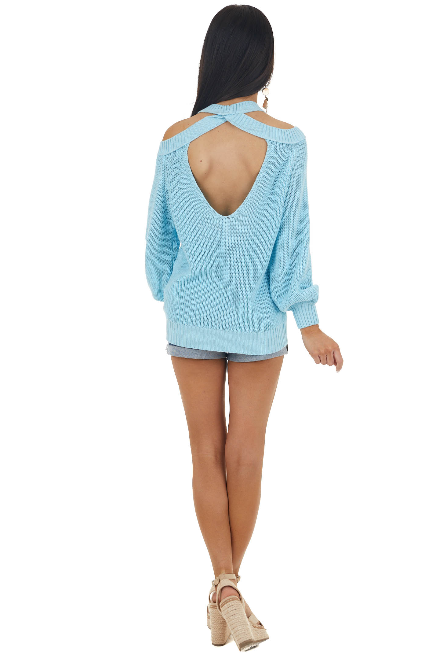 Baby Blue Cold Shoulder Knit Sweater with Back Cutout