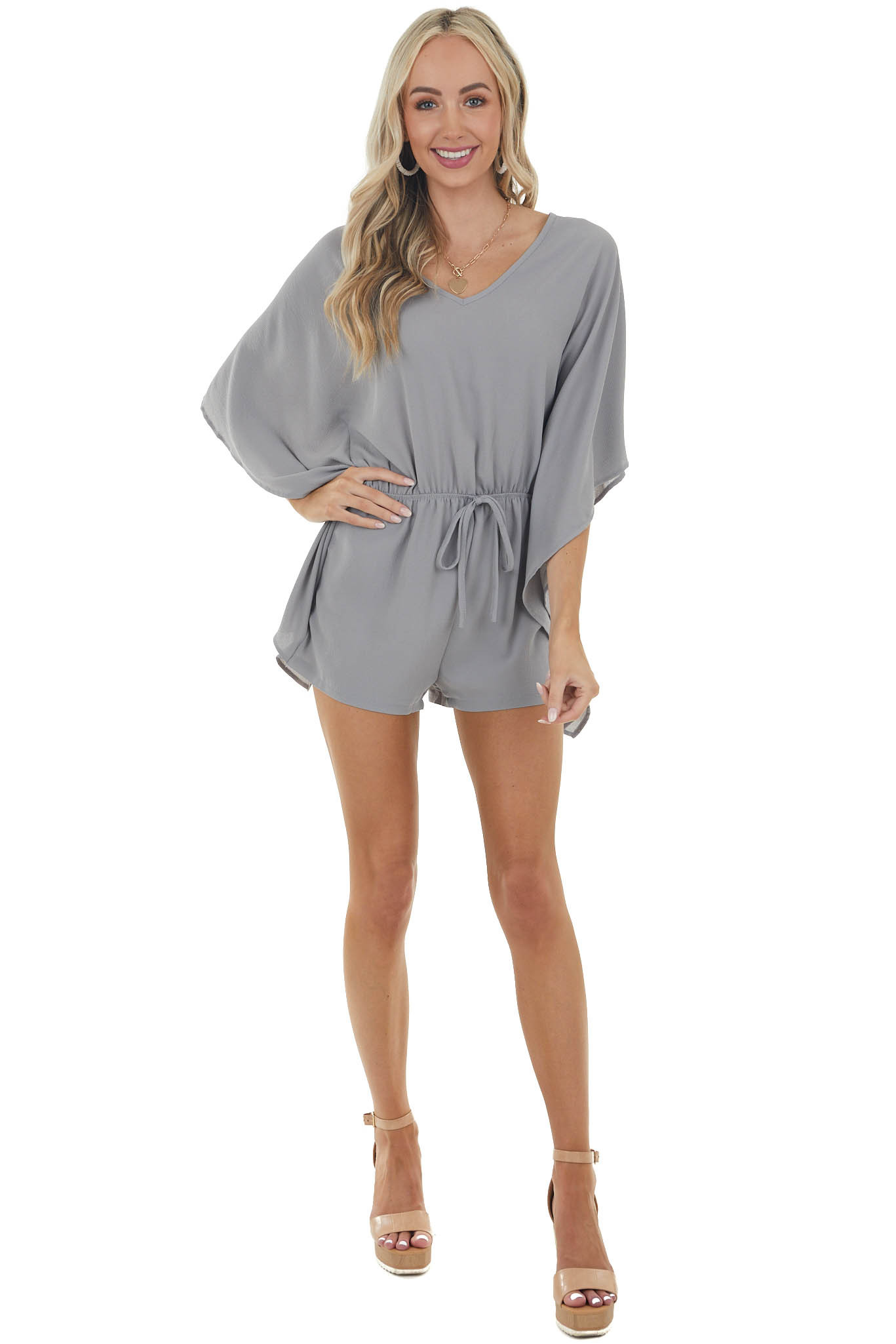 Steel Cinch Waist Textured Woven Romper with Kimono Sleeves