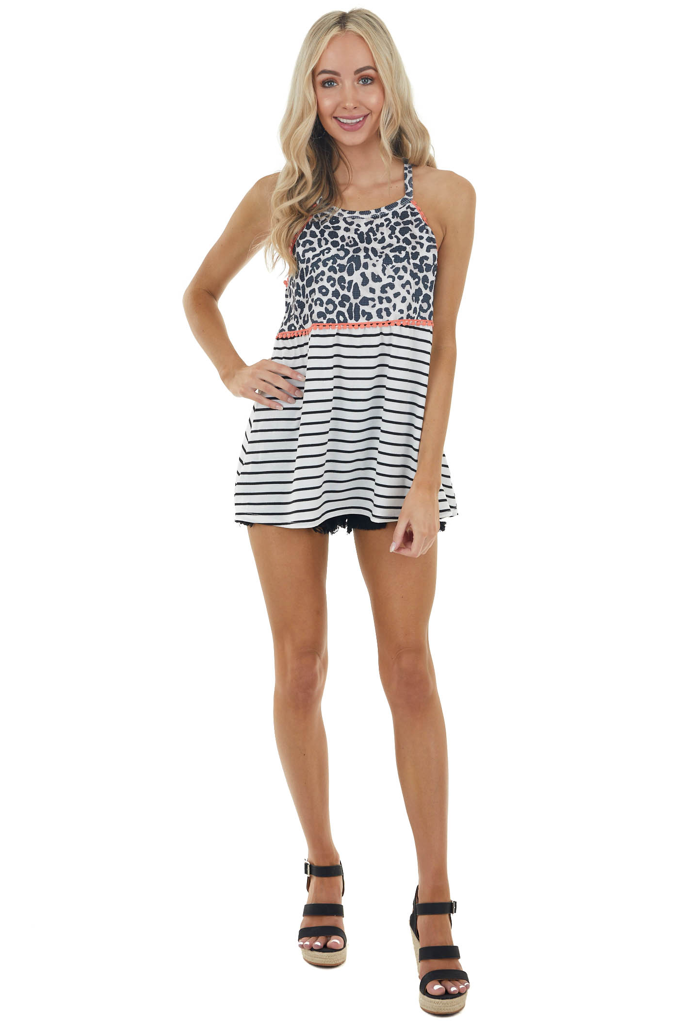 Ivory Multiprint Sleeveless Halter Top with Trim Details