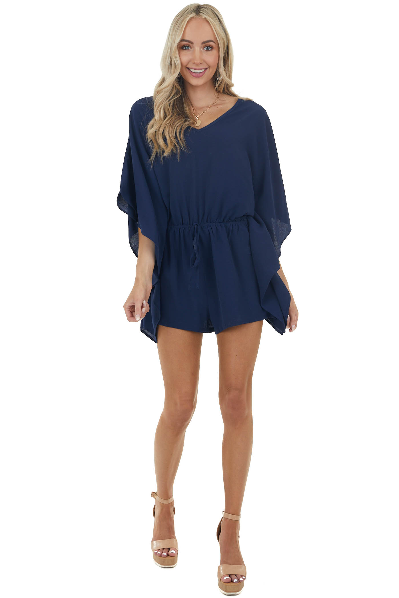 Navy Cinch Waist Textured Woven Romper with Kimono Sleeves