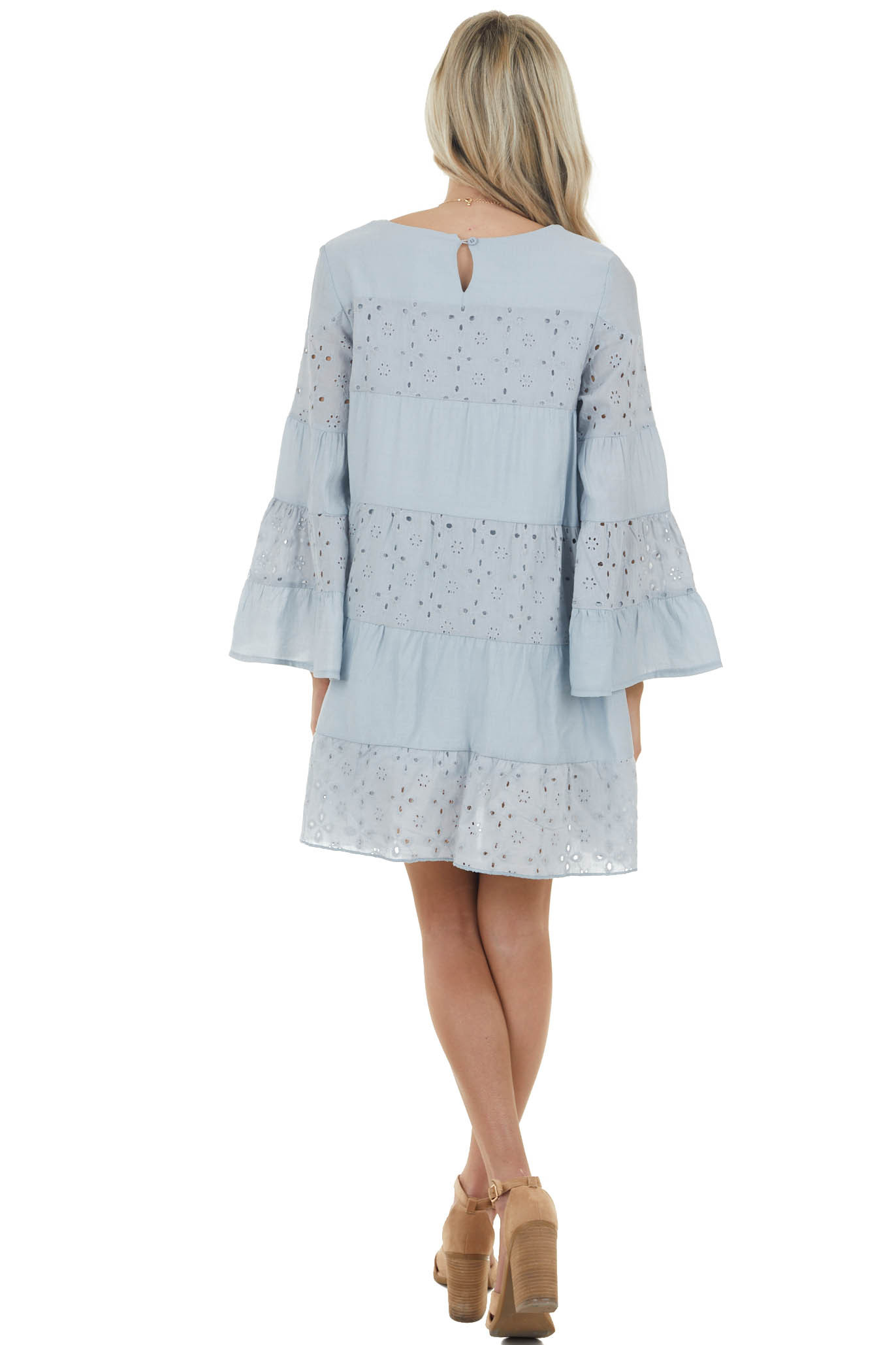 Powder Blue Long Flare Sleeve Dress with Eyelet Lace Details