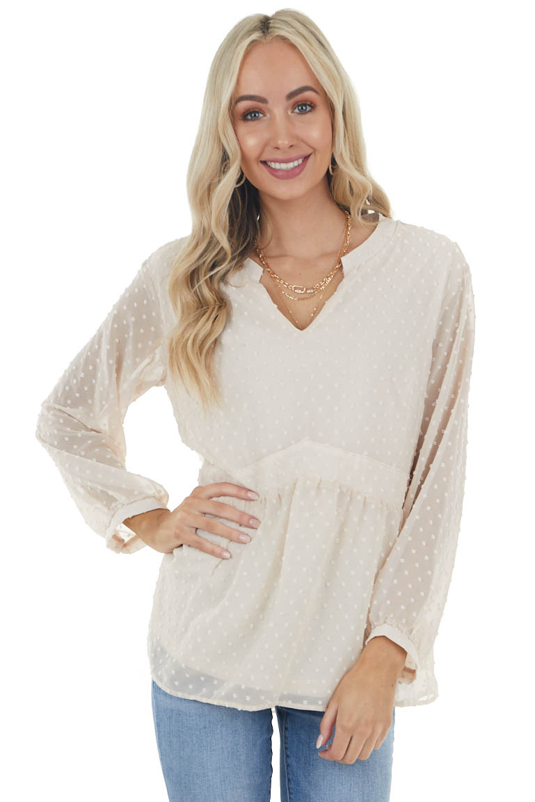 Desert Sand Swiss Dot Babydoll Top with Long Sleeves