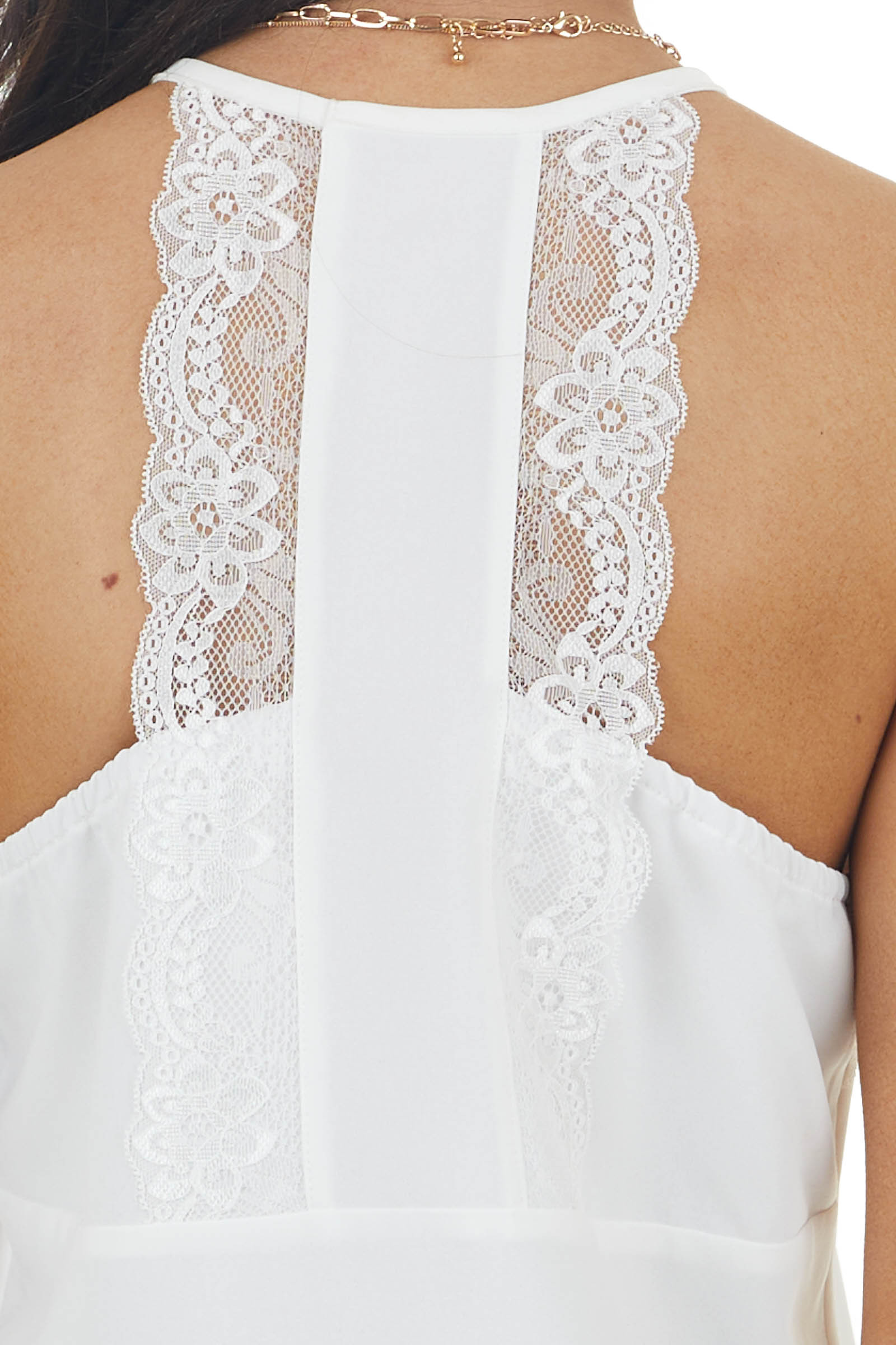 Off White Sleeveless V Neck Cami Tank Top with Lace Detail