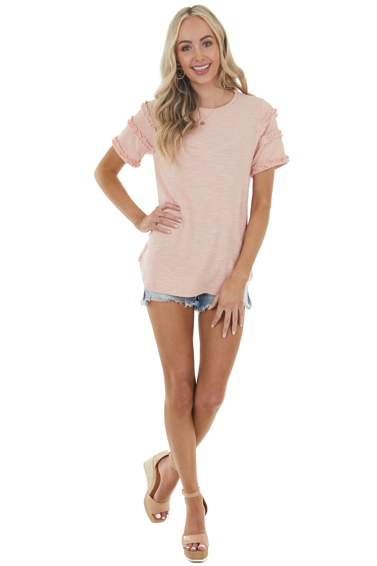 Dusty Blush Textured Short Sleeve Top with Ruffle Details