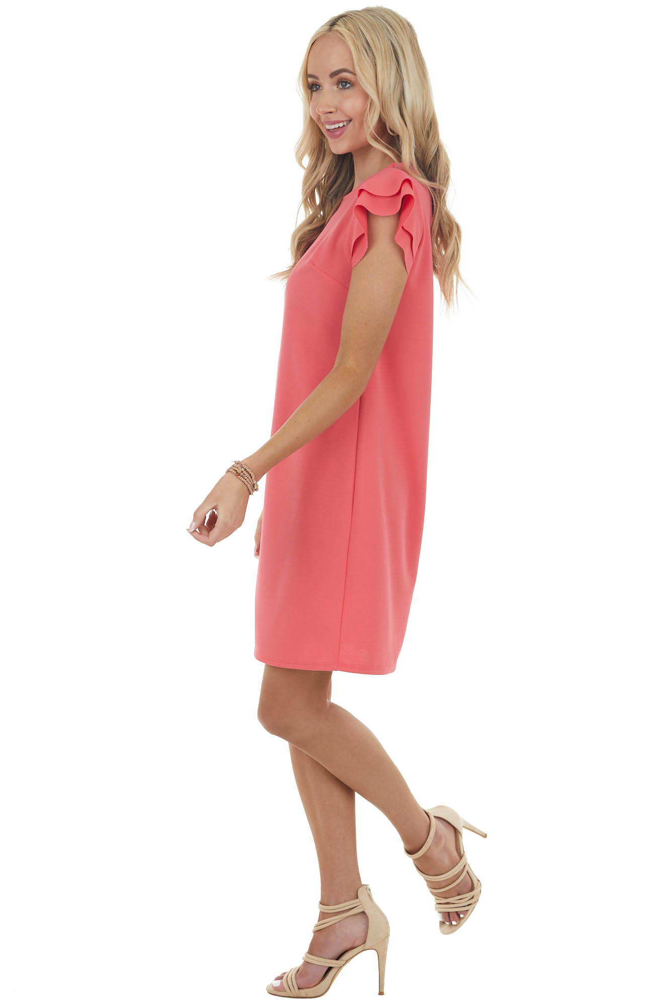 Rich Coral Short Knit Dress with Layered Ruffle Cap Sleeves