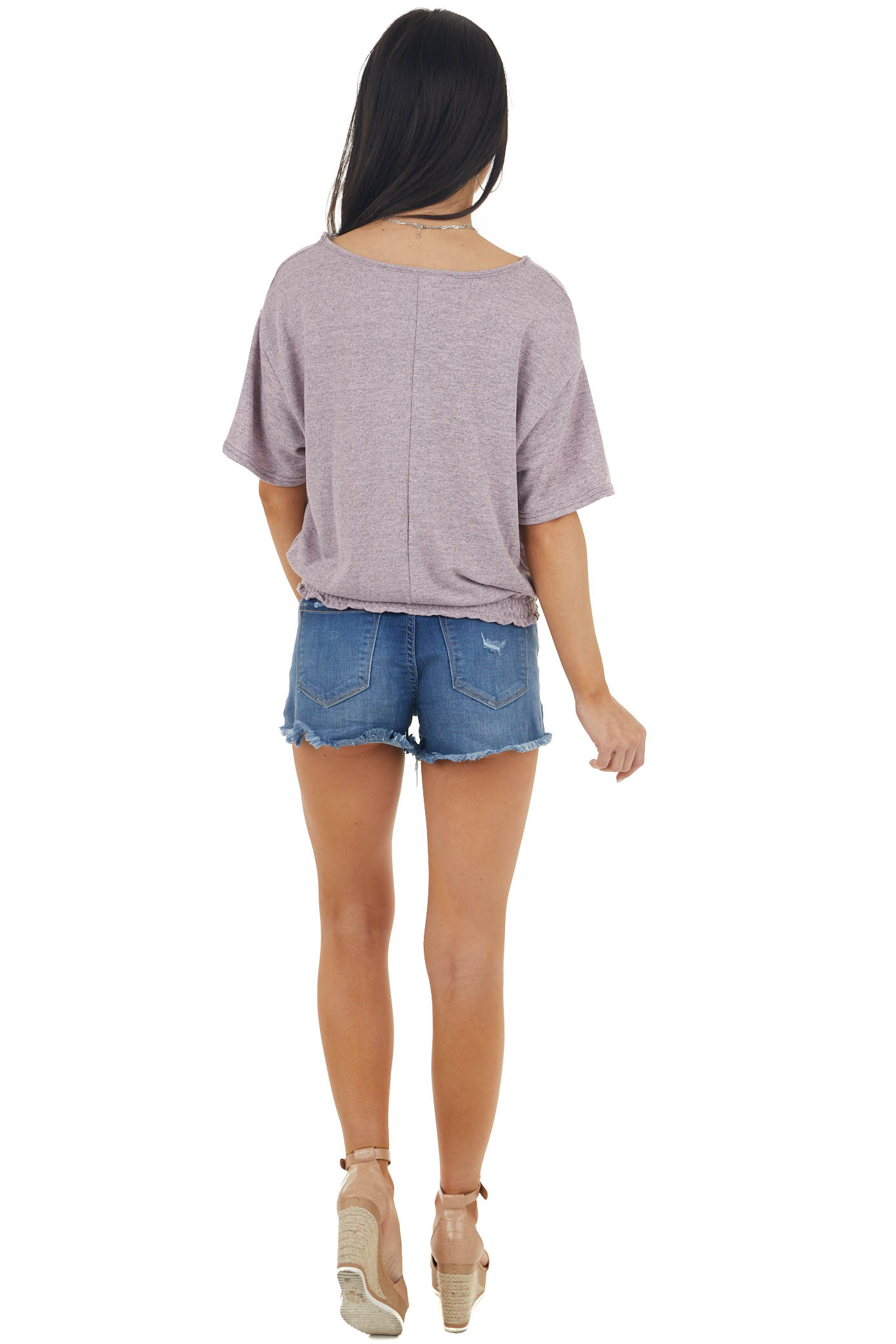 Mauve Two Toned Short Sleeve Top with Smocked Hemline