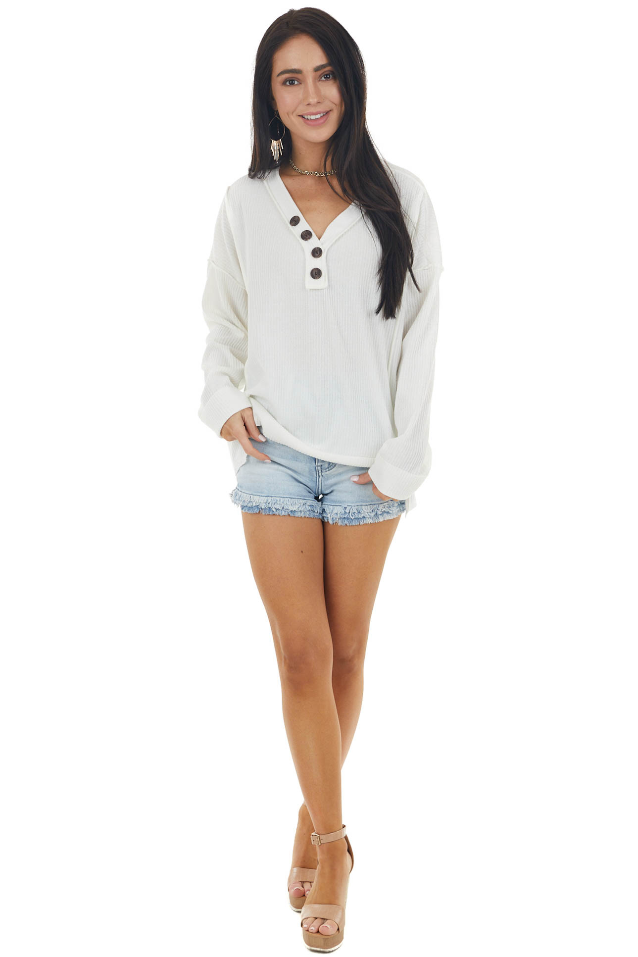 Ivory Ribbed Long Sleeve V Neckline Button Down Knit Top