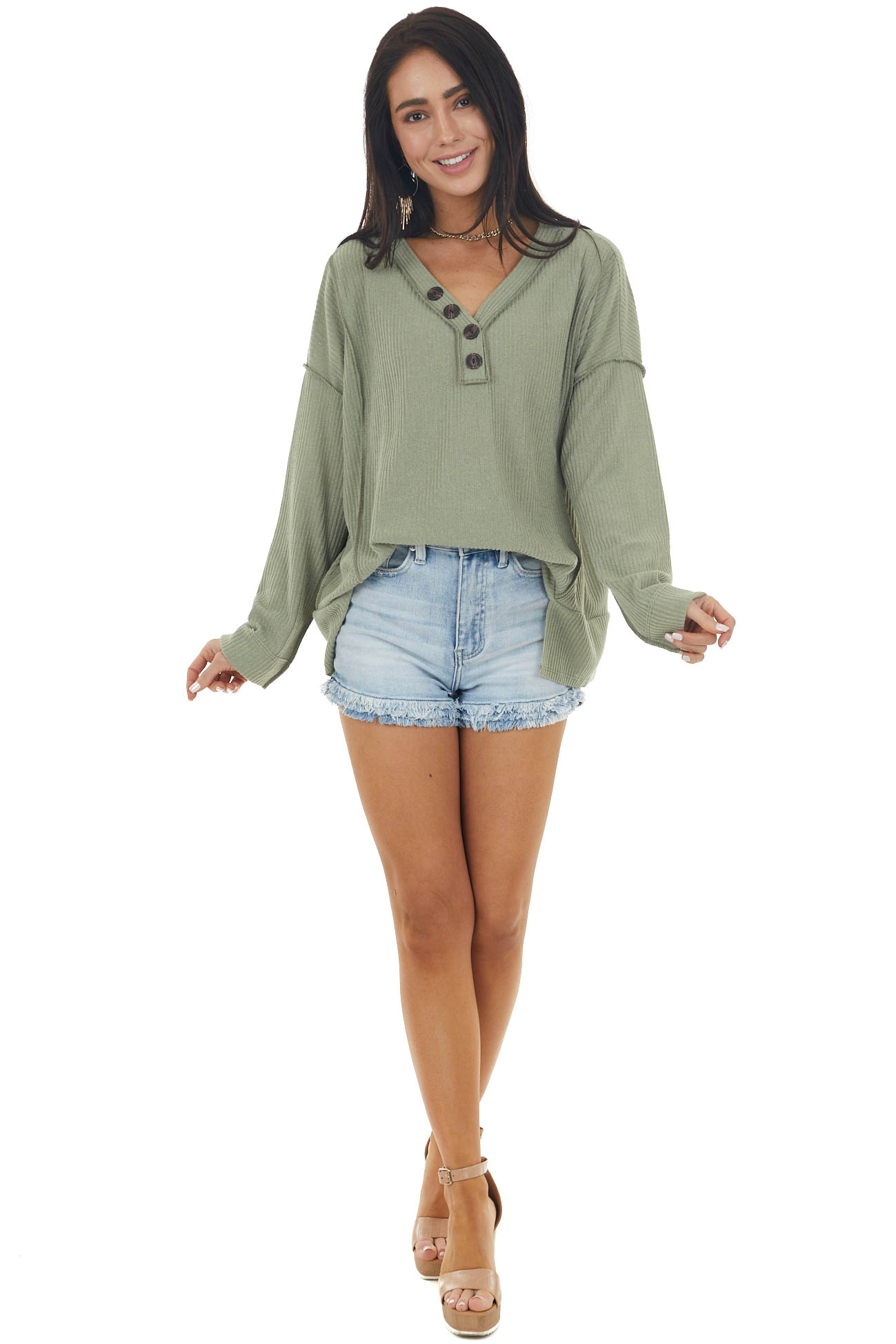 Olive Ribbed Long Sleeve V Neckline Button Down Knit Top