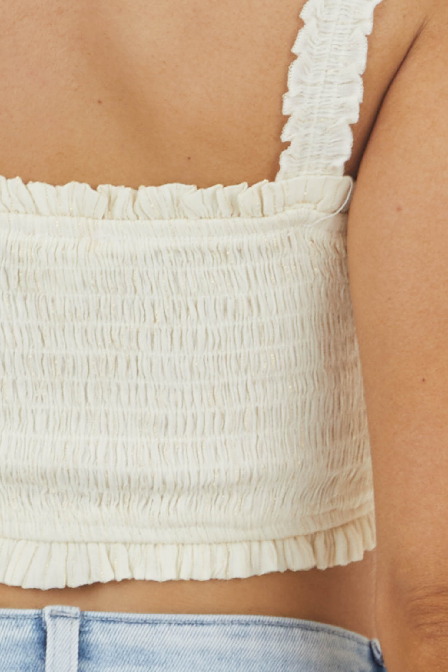 Cream Sleeveless Smocked Crop Top with Gold Thread Details