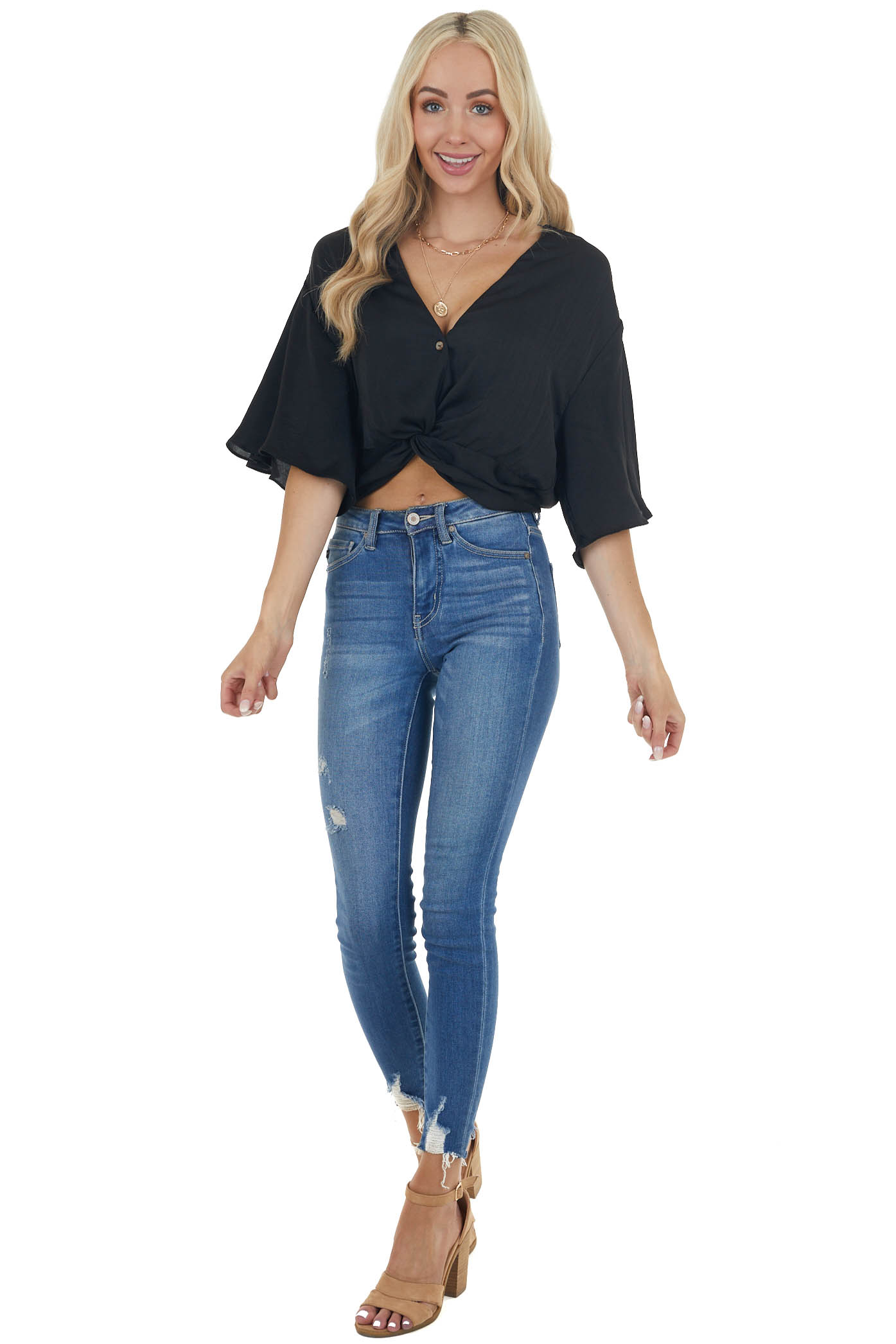 Black Buttoned Front Blouse with Flutter Sleeves