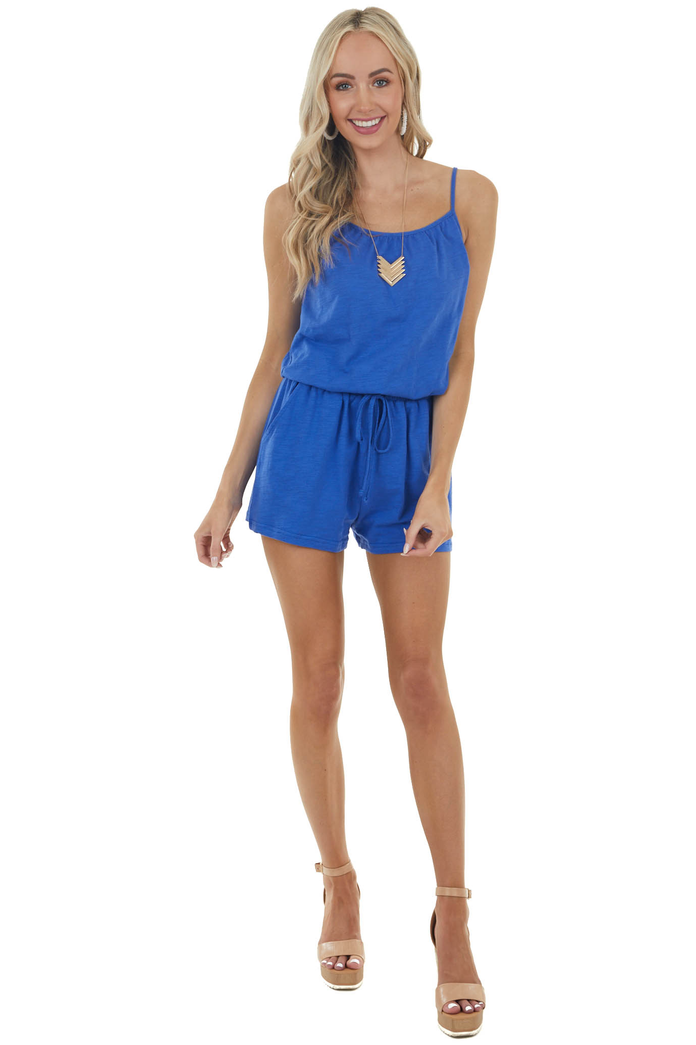 Royal Blue Cinch Waist Sleeveless Romper with Side Pockets