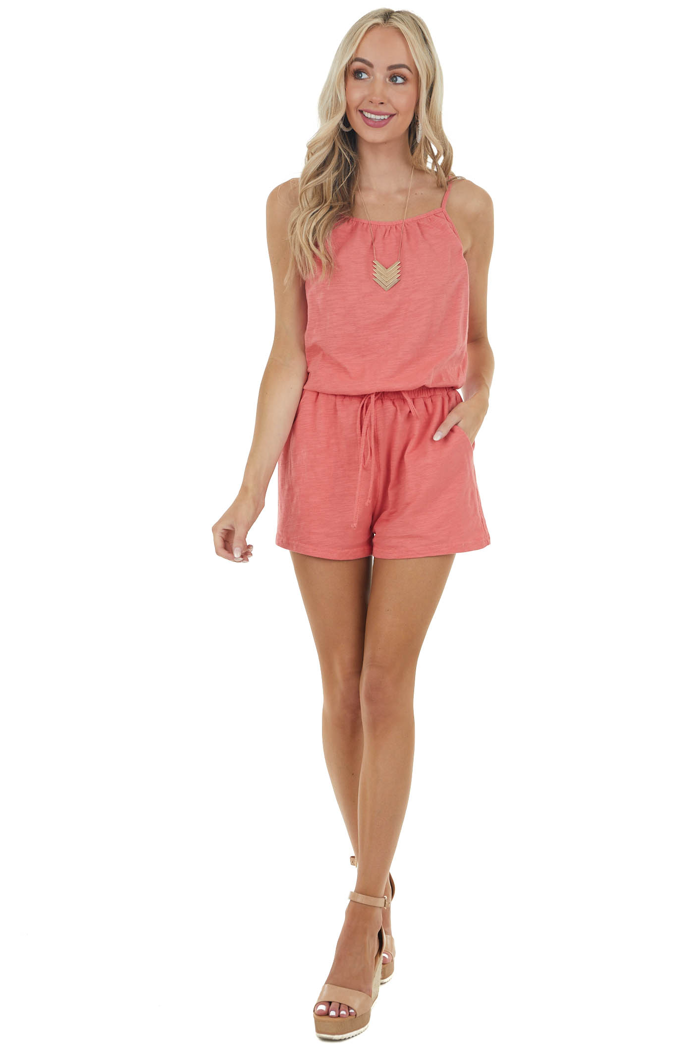 Coral Pink Cinch Waist Sleeveless Romper with Side Pockets