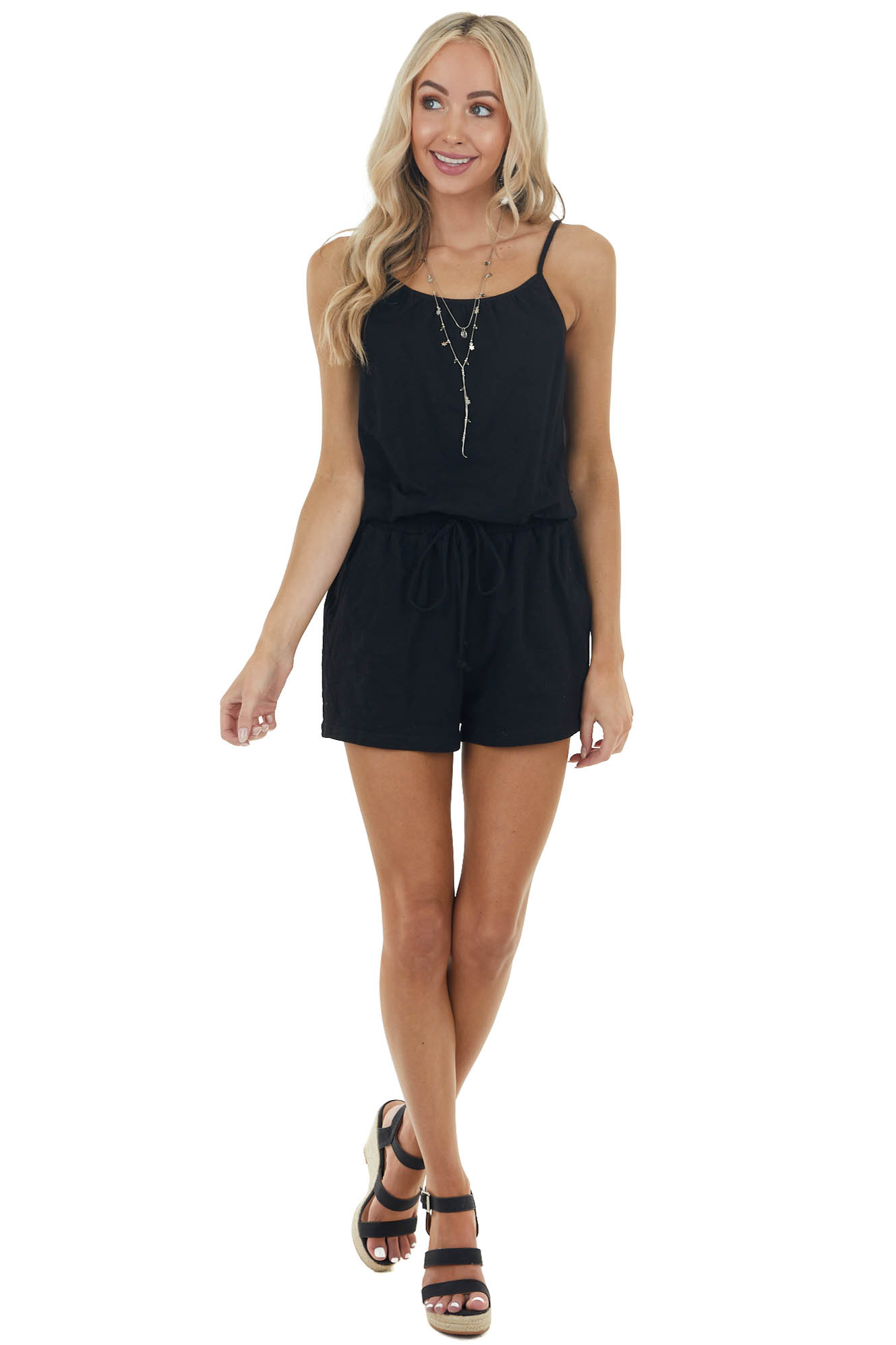 Black Cinch Waist Sleeveless Romper with Side Pockets
