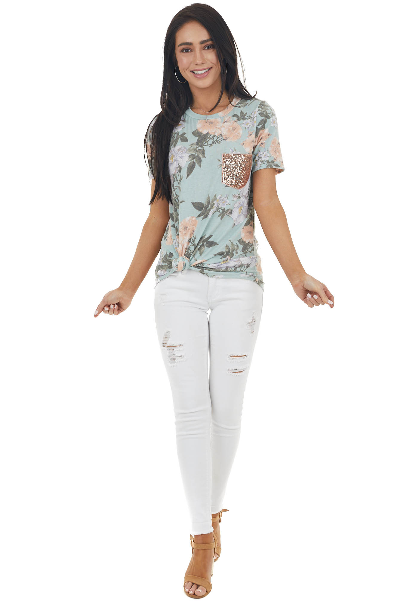 Sage Floral Print Short Sleeve Top with Sequin Pocket Detail