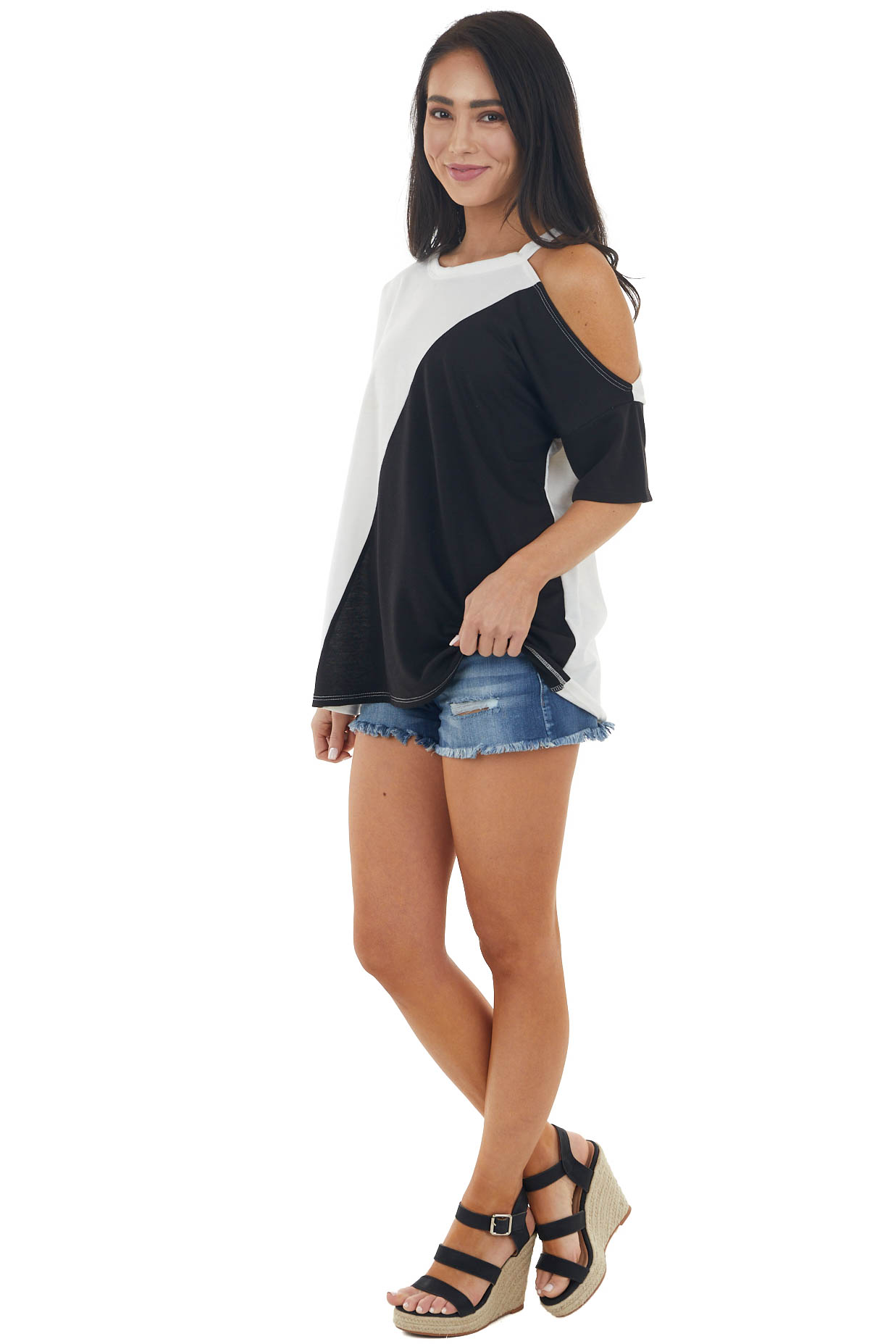 Ivory and Black Colorblock Knit Top with Cold Shoulder