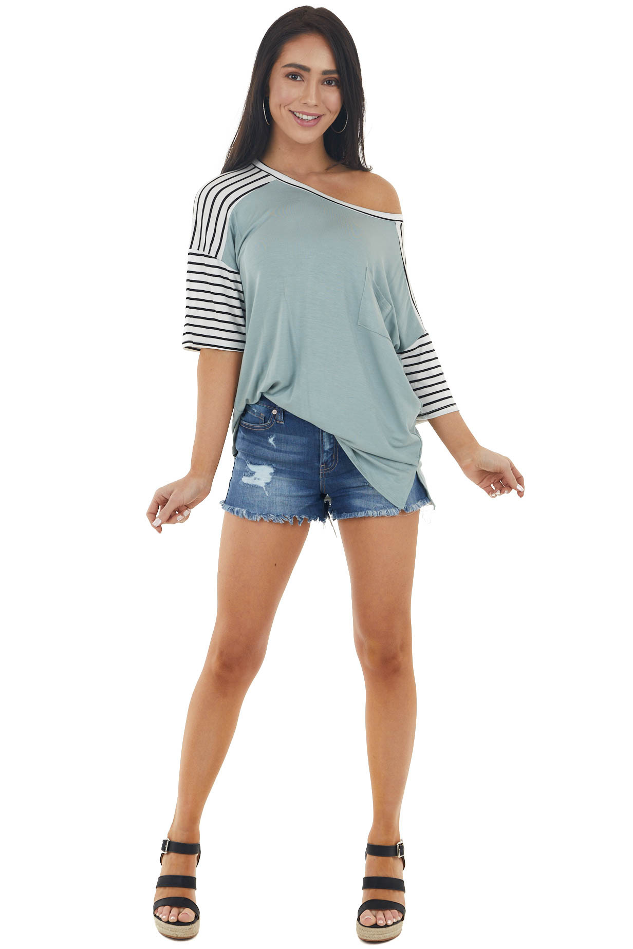 Sage Stretchy Knit Top with Pocket and Striped Detail