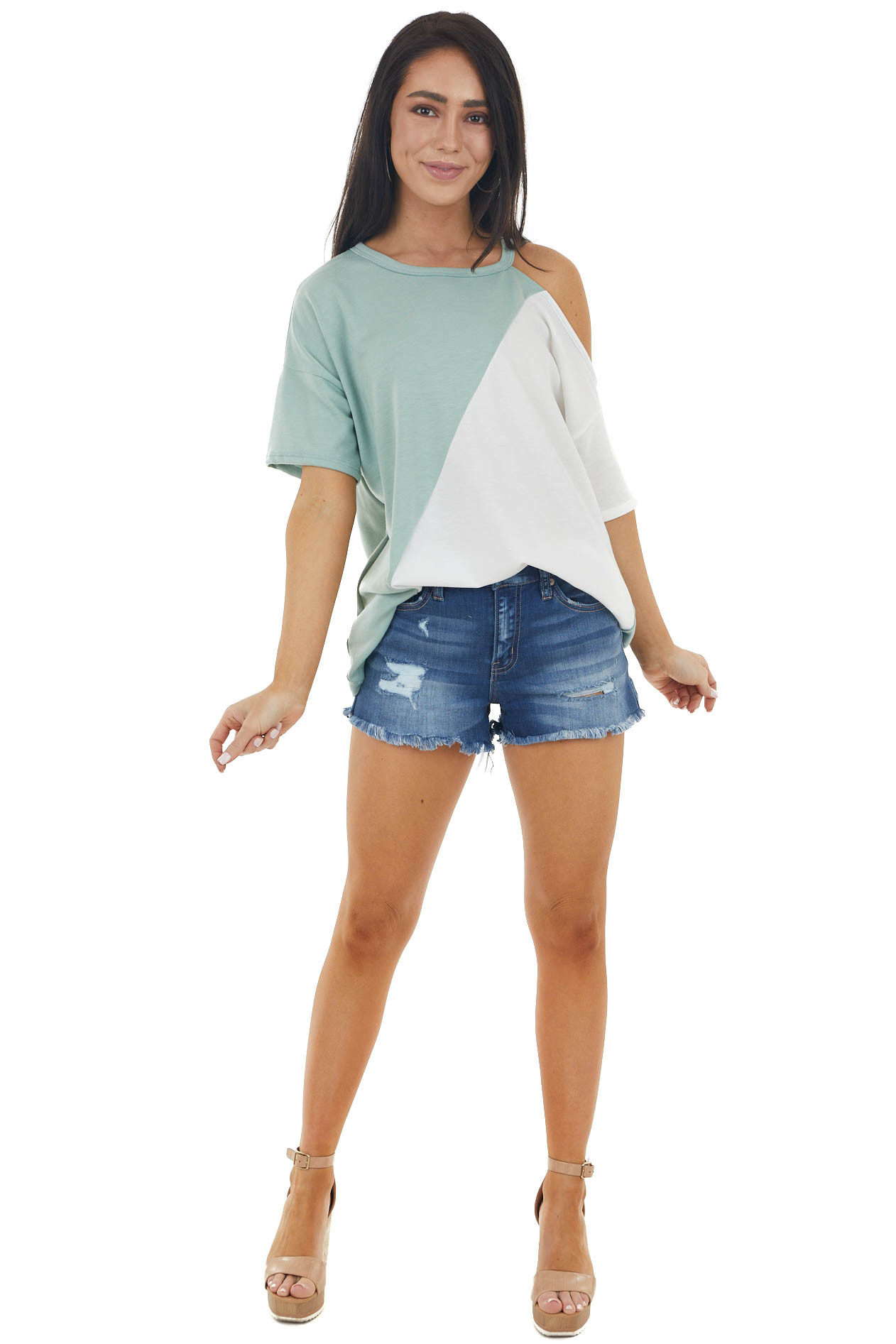 Ivory and Sage Colorblock Knit Top with Cold Shoulder
