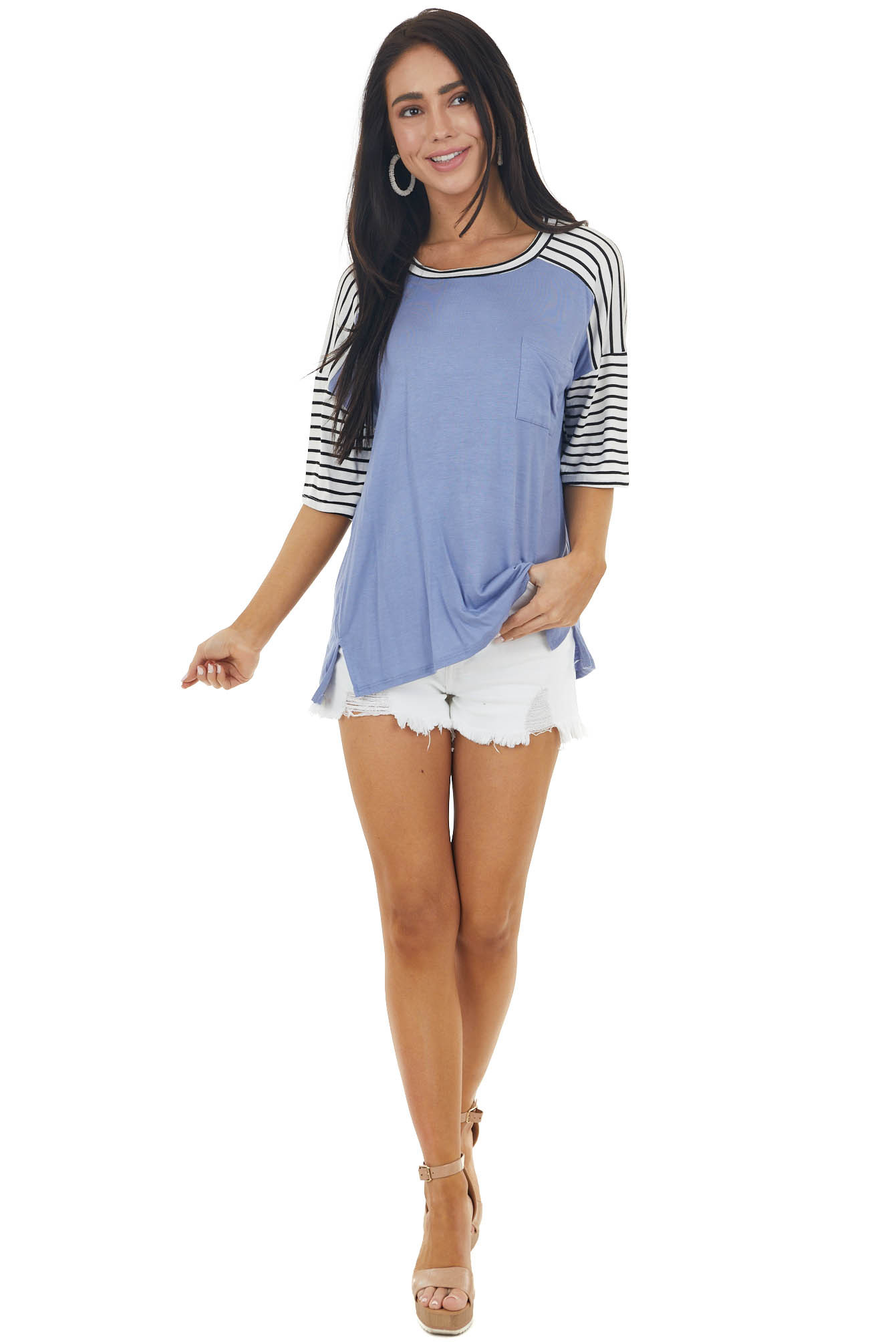 Cornflower Knit Top with Pocket and Striped Detail