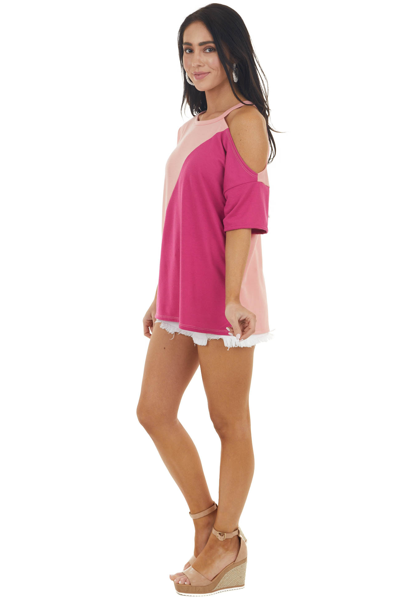 Fuchsia and Peach Colorblock Knit Top with Cold Shoulder