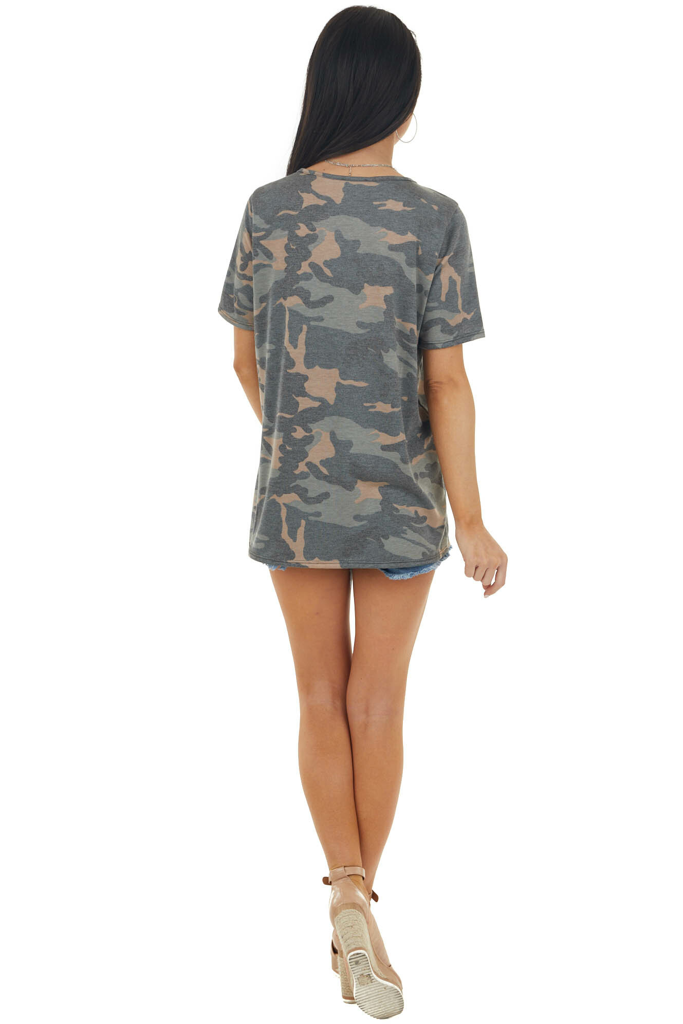 Faded Stone Camo Print Short Sleeve Top with Sequin Details