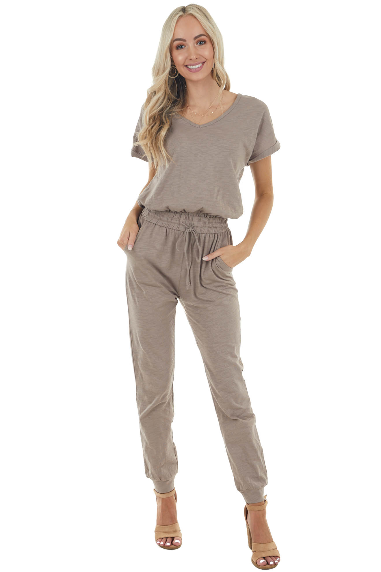 Latte Short Sleeve Knit Jumpsuit with Waist Drawstring