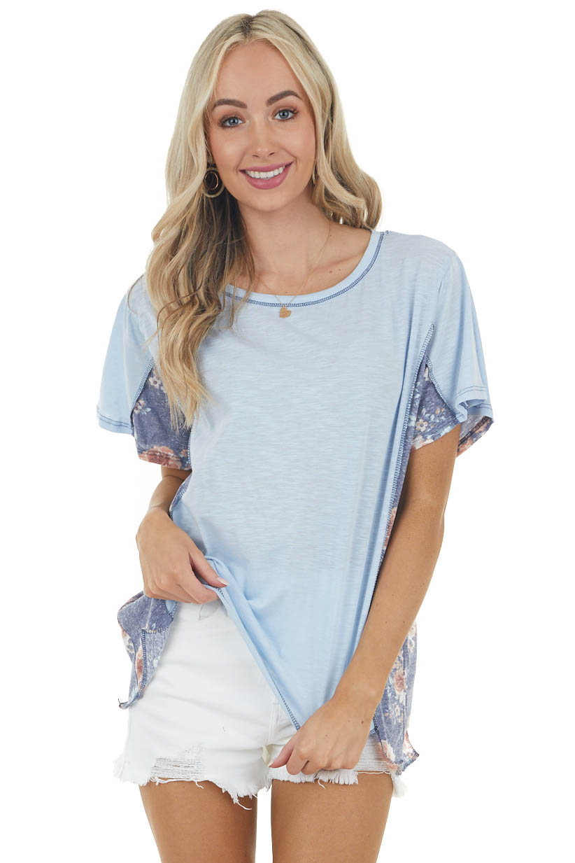 Sky Blue Short Sleeve Top with Contrasting Floral Detail