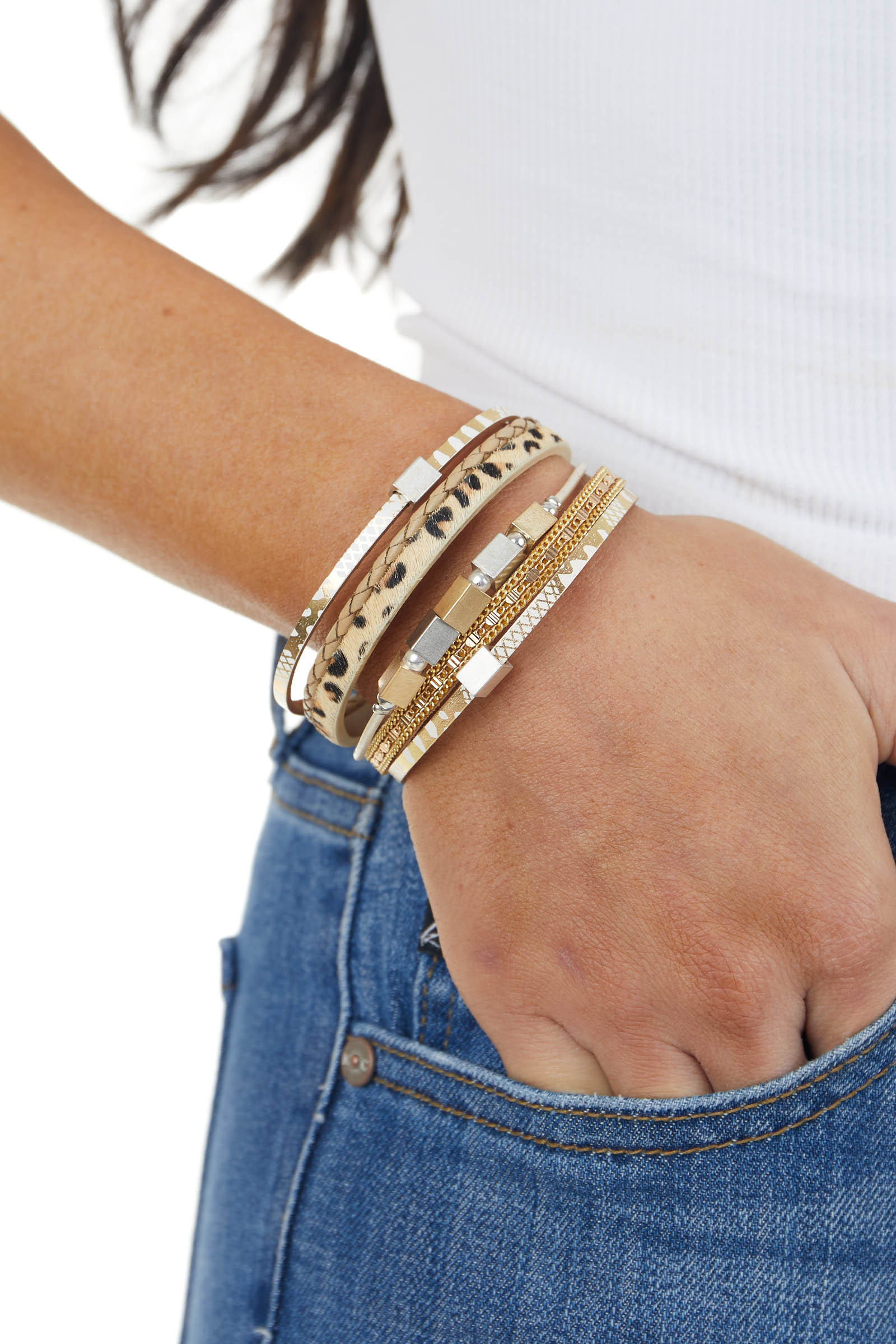 Gold Strappy Multiprint Bracelet with Magnetic Closure