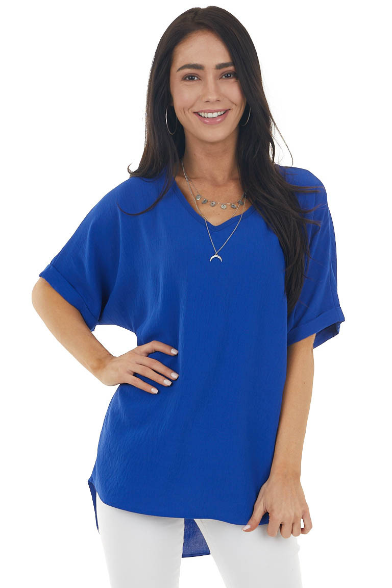 Royal Blue Short Sleeve V Neck Woven Top with High Low Hem