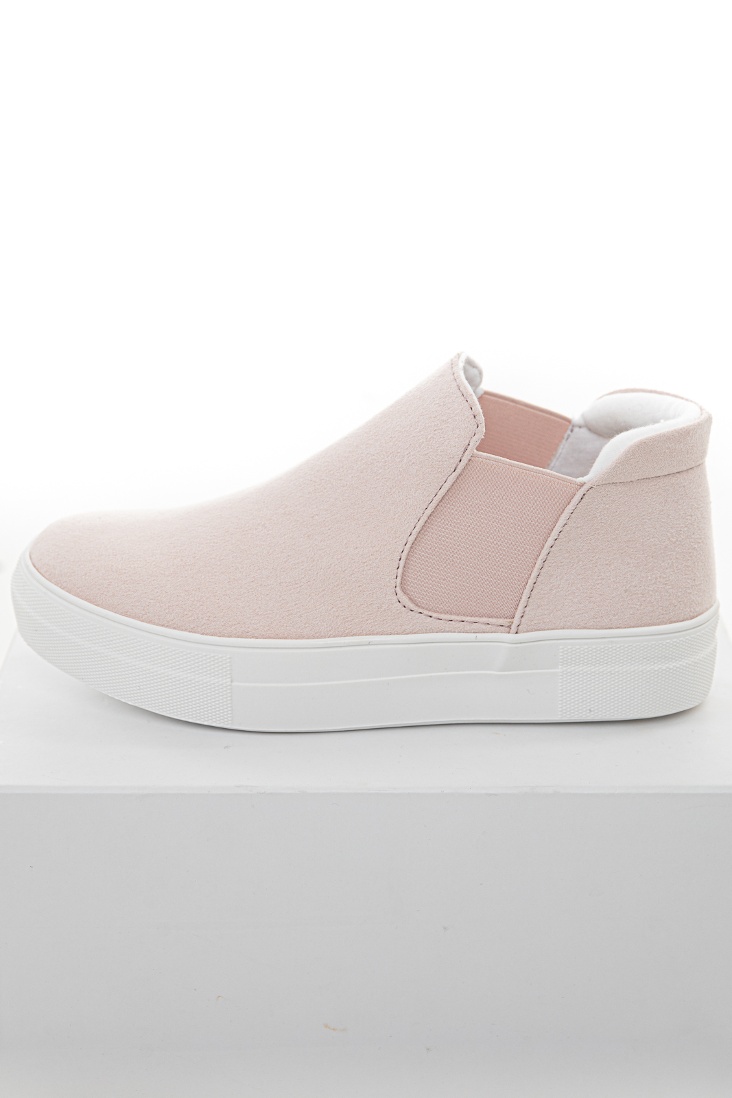 Blush Suede High Top Slip On Sneakers with Elastic Panel