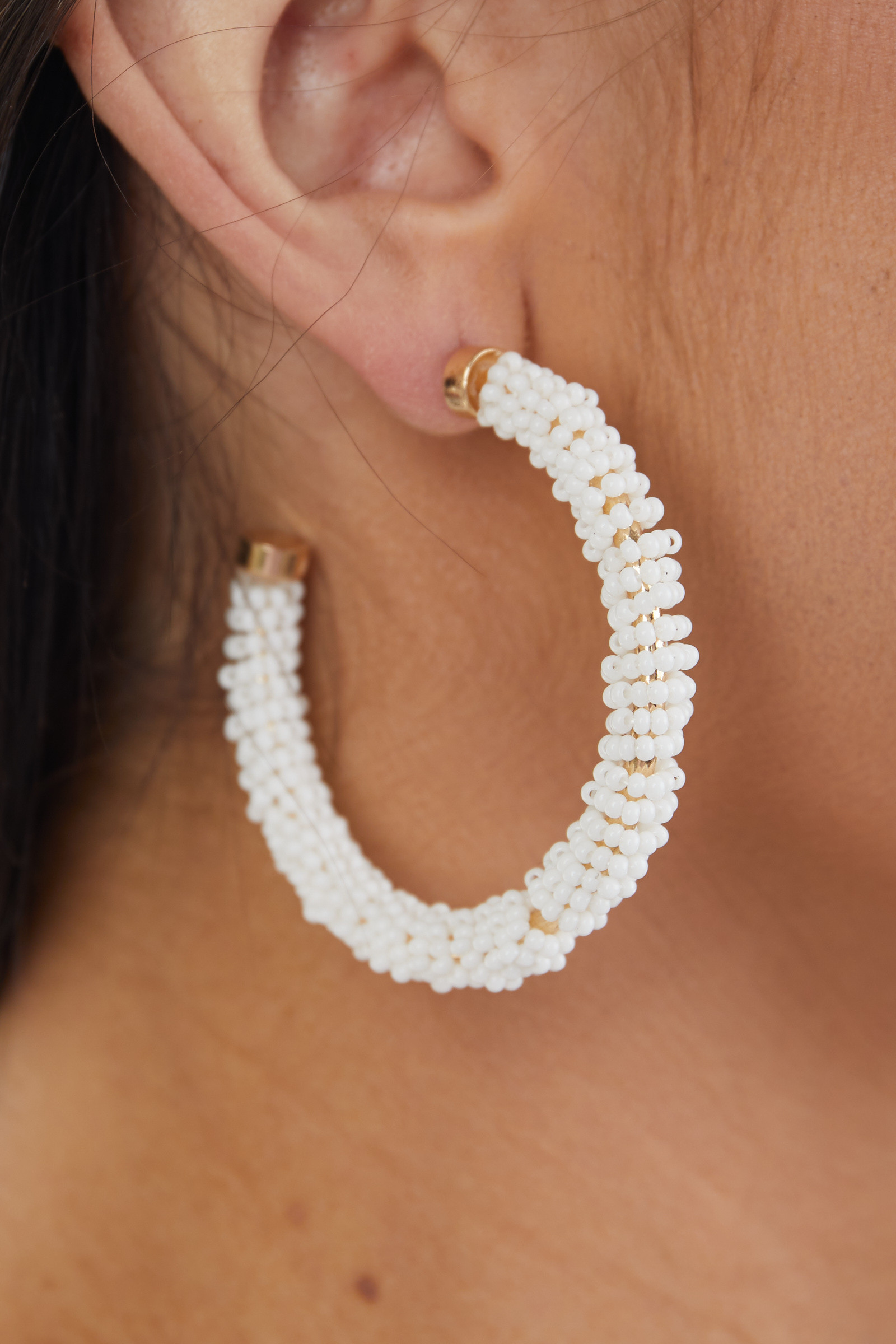 Off White and Gold Seed Beaded Crescent Hoop Earrings