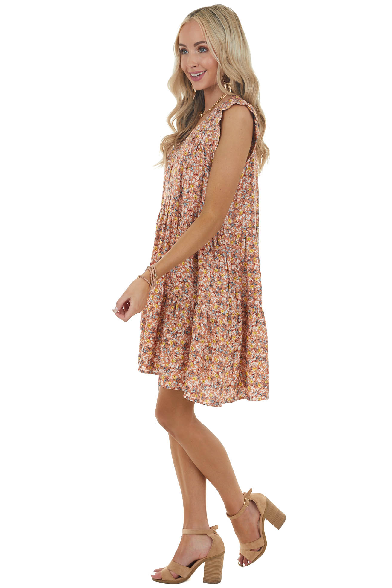 Light Marmalade Ditsy Floral Short Dress with Pockets