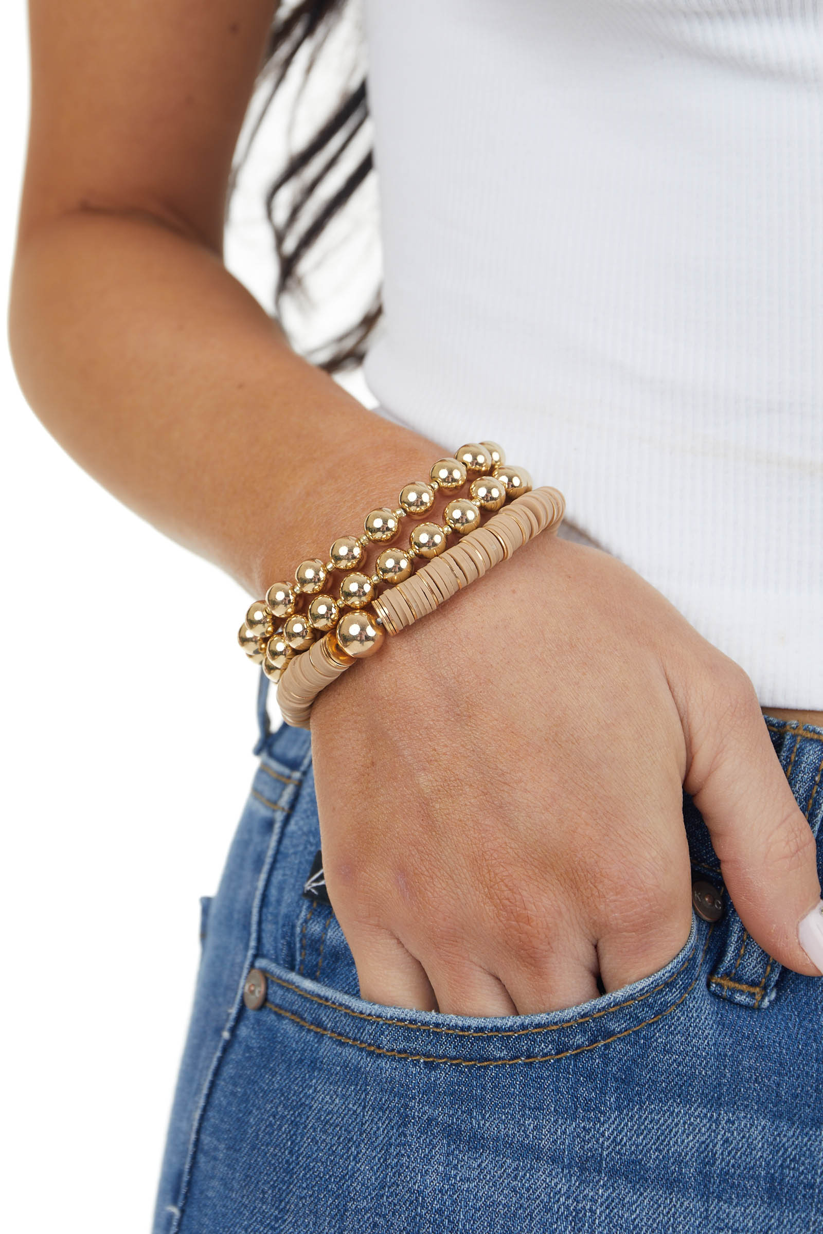 Gold and Taupe Stretchy Beaded Three Piece Bracelet Set